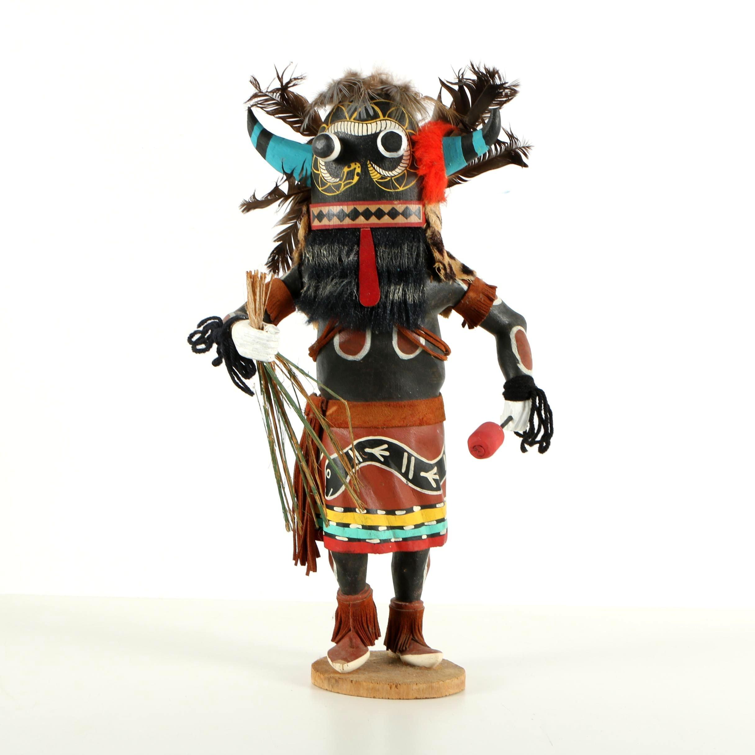 """Leo Lacapa Jr. Hopi Kachina Doll """"Snake Dancer or Whipper"""""""