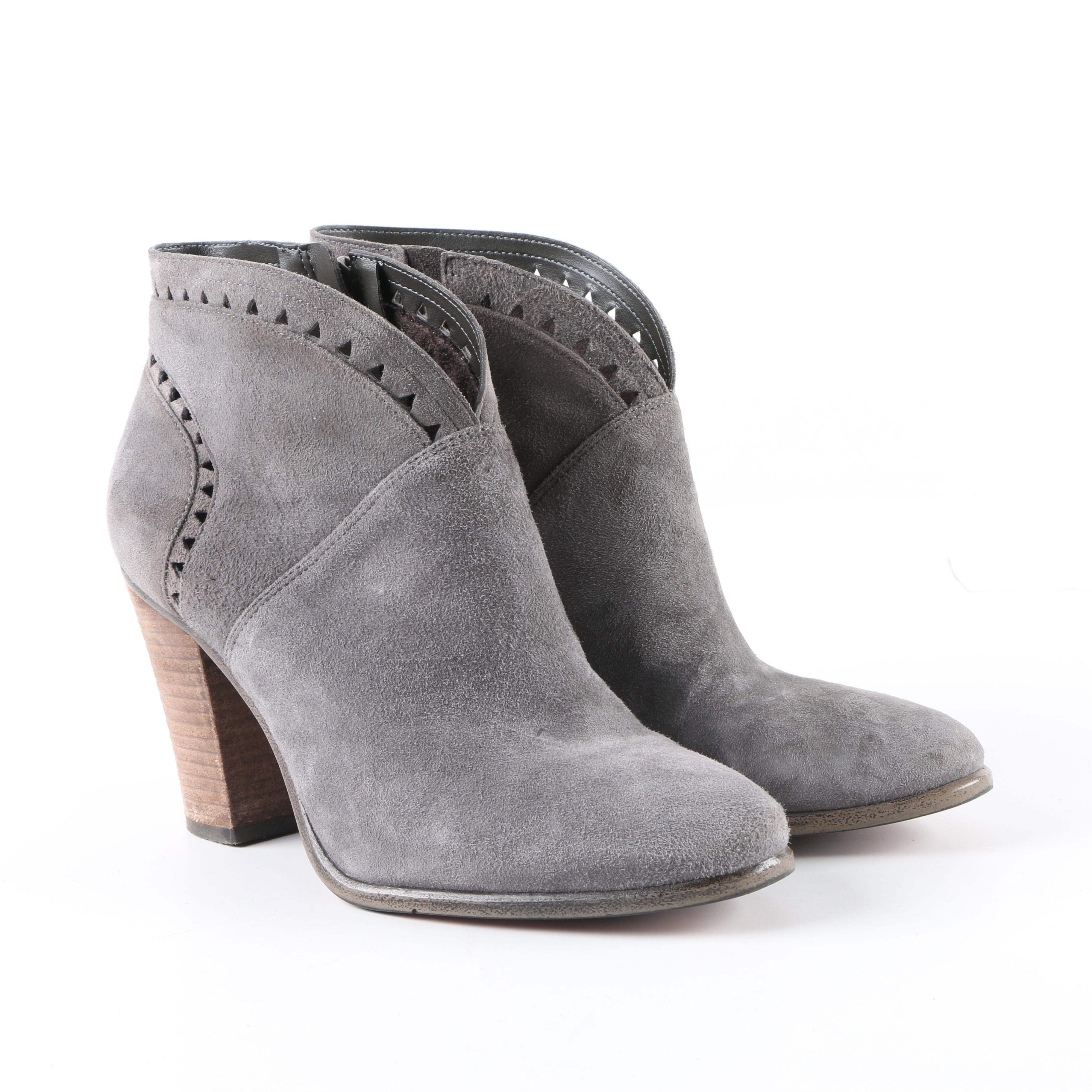 Vince Camuto Grey Suede Booties with Cut-Out Accents