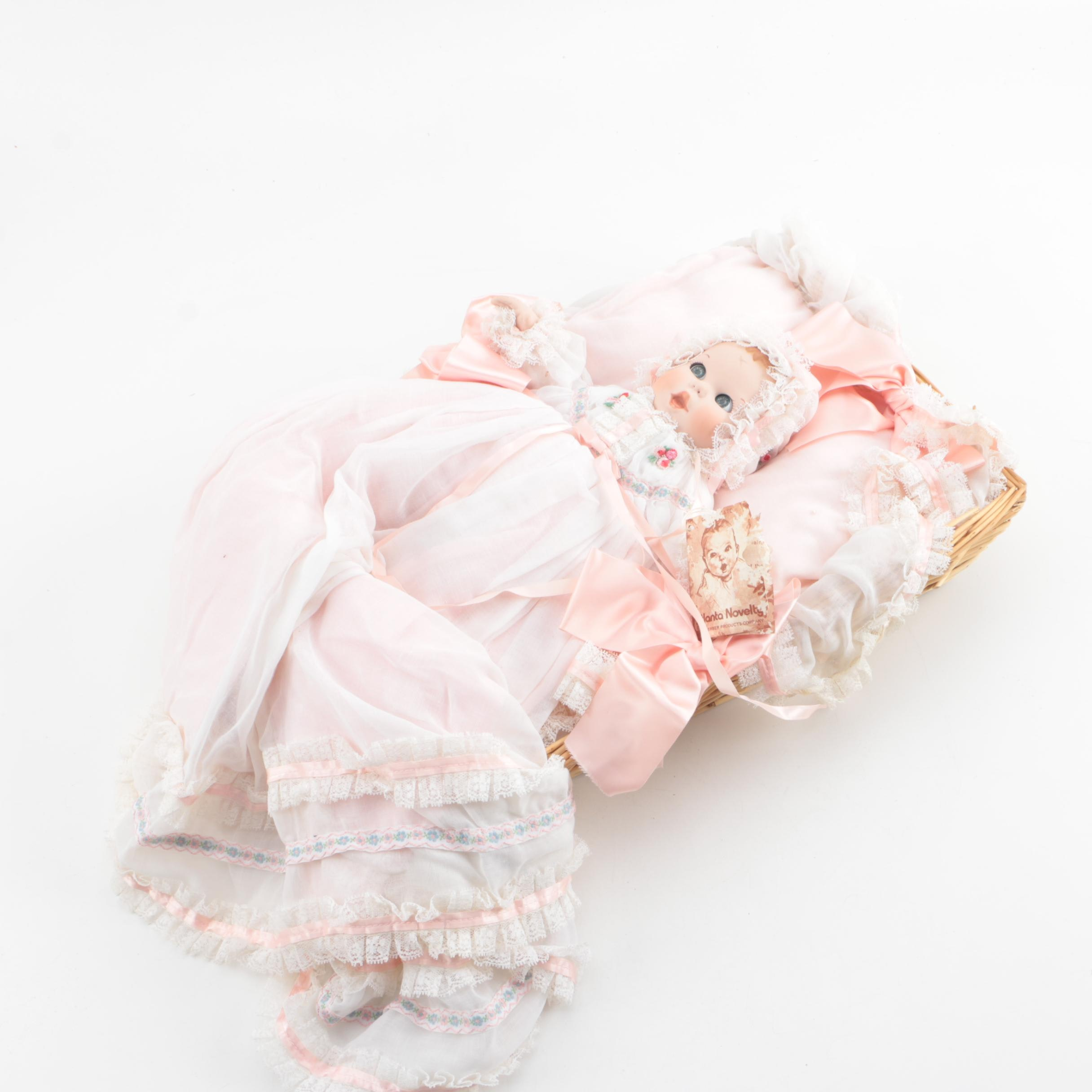 Vintage Gerber Porcelain Baby Doll with Wicker Bed