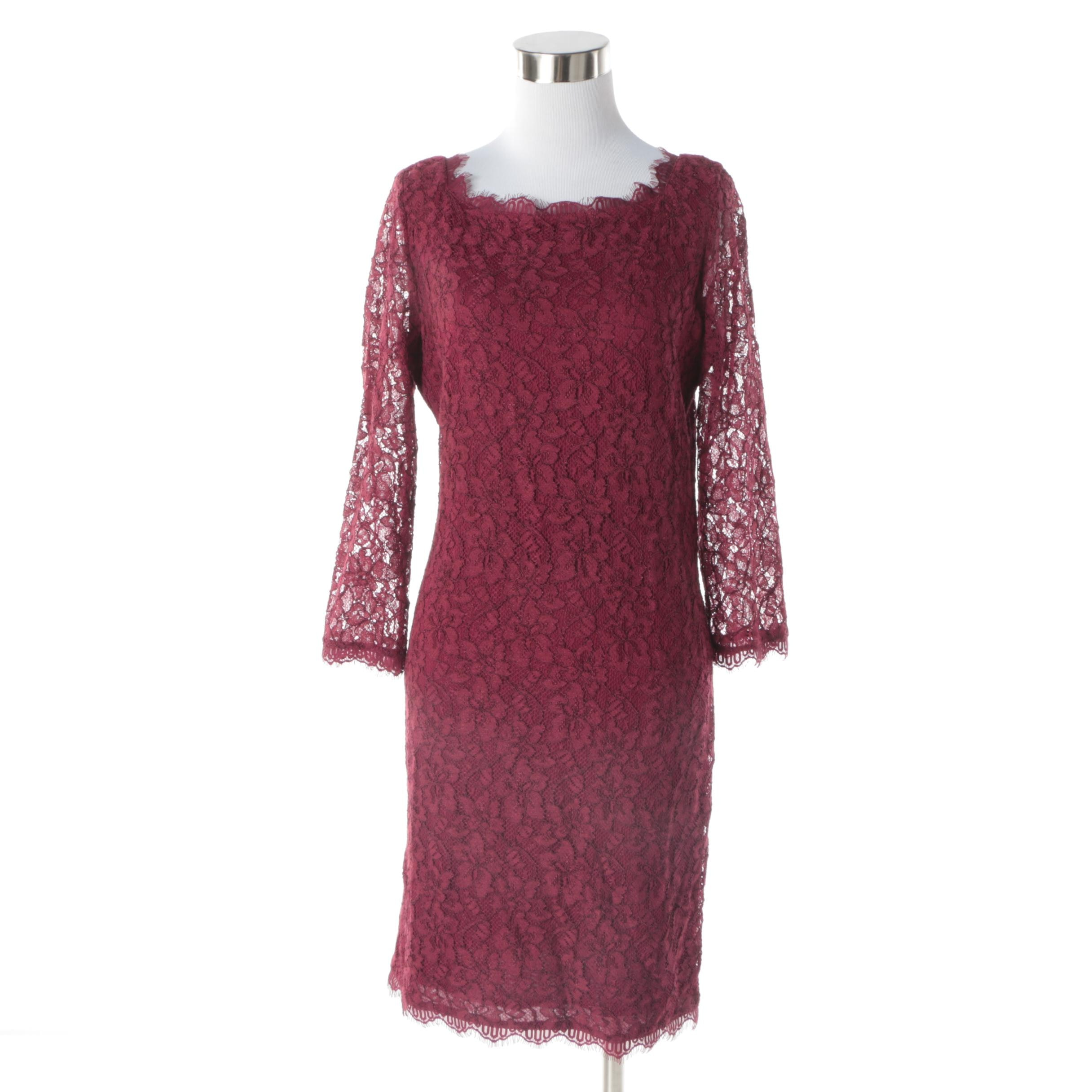 Diane von Furstenberg Zarita Burgundy Lace Cocktail Dress
