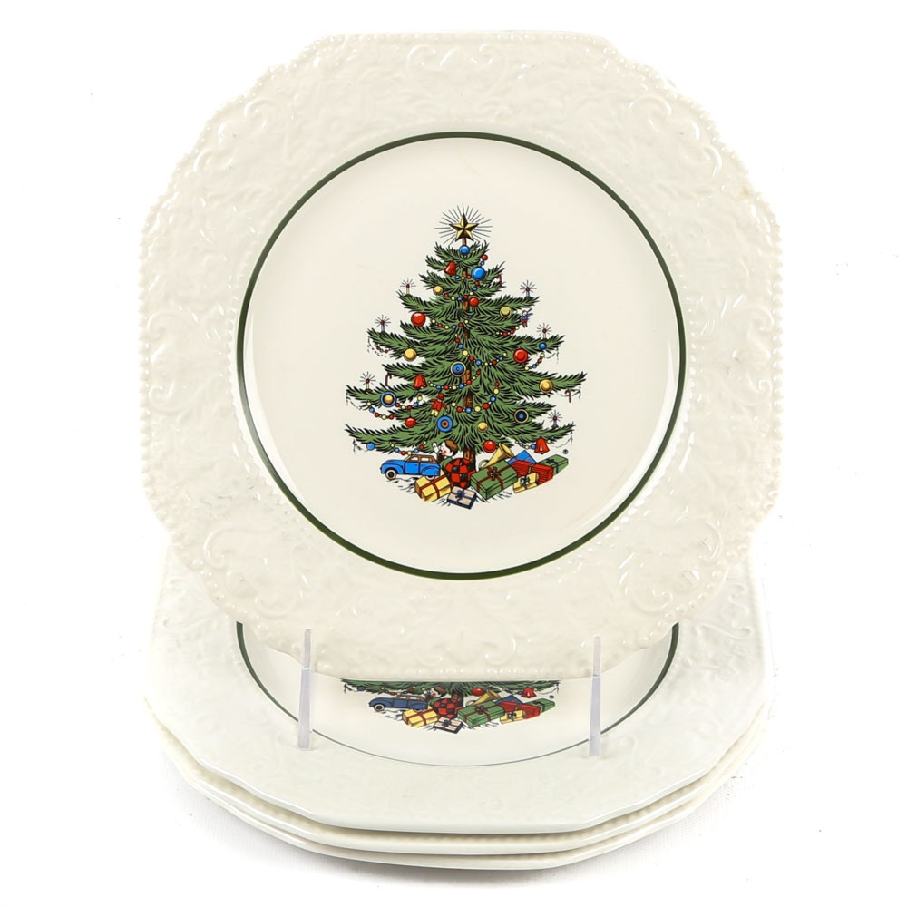 "Cuthbertson ""Dickens Embossed Christmas Tree"" Salad Plates"