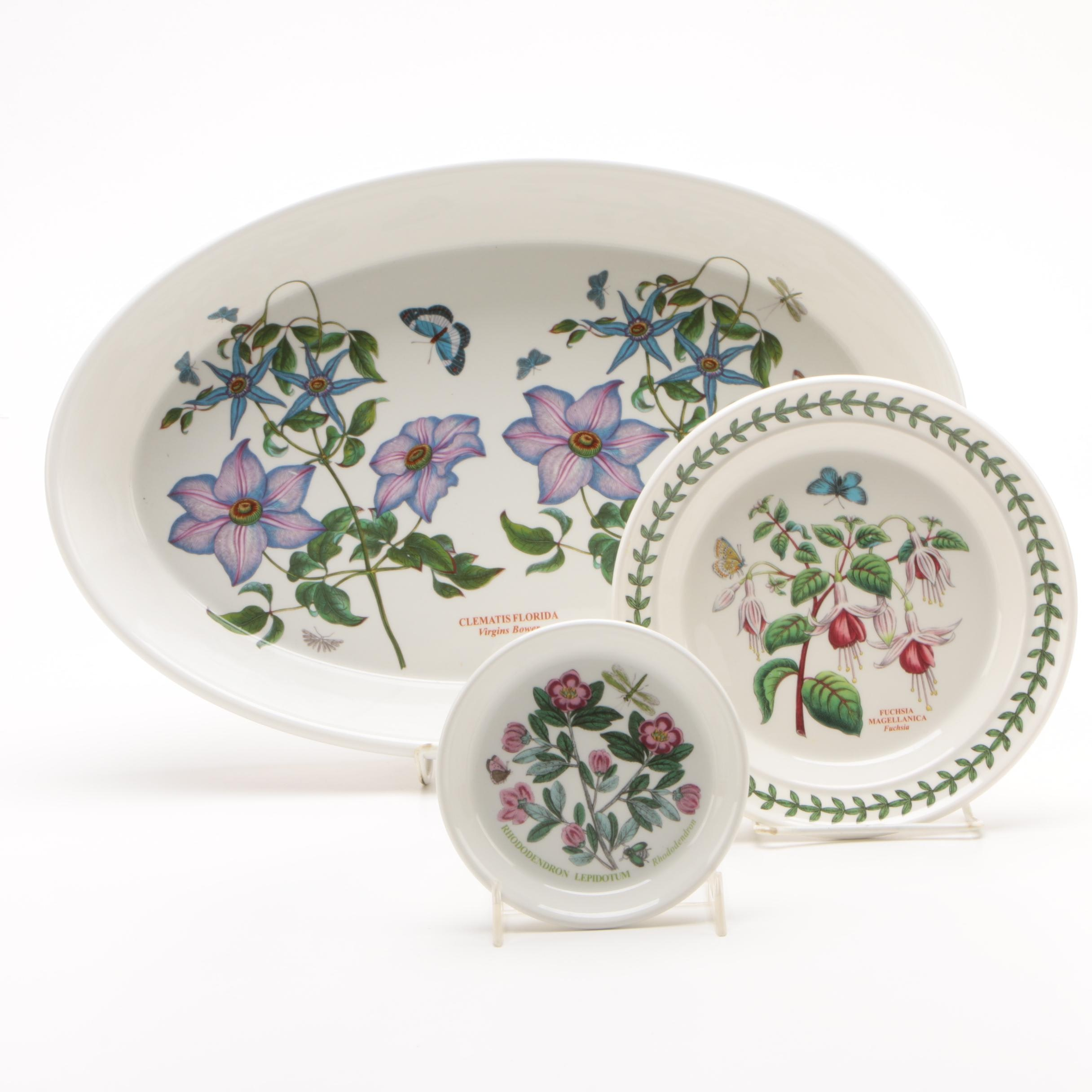 "Portmeirion Ceramic ""Botanic Garden"" Serving Plates and Baking Dish"