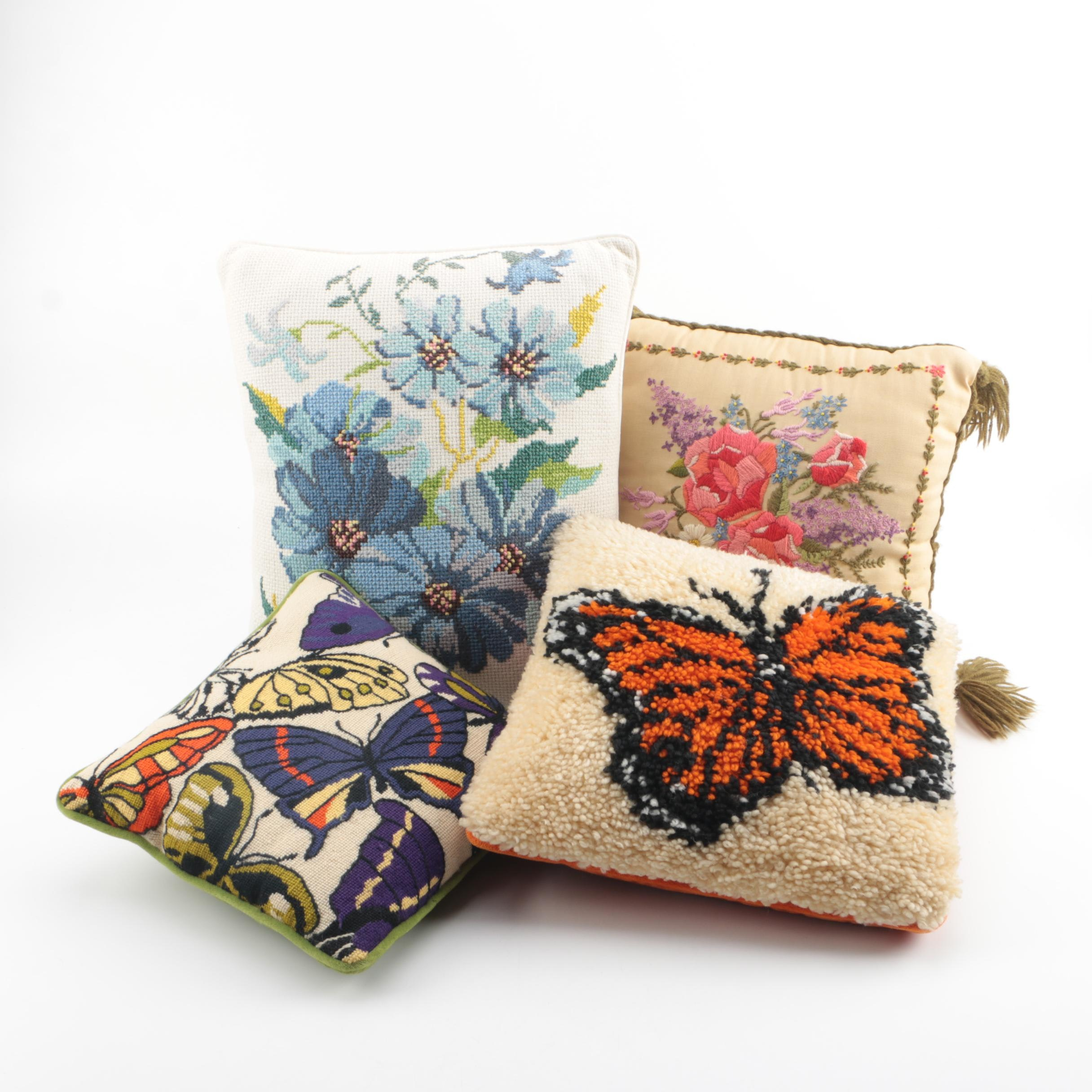 Needlepoint, Embroidered and Hooked Flower and Butterfly Themed Accent Pillows