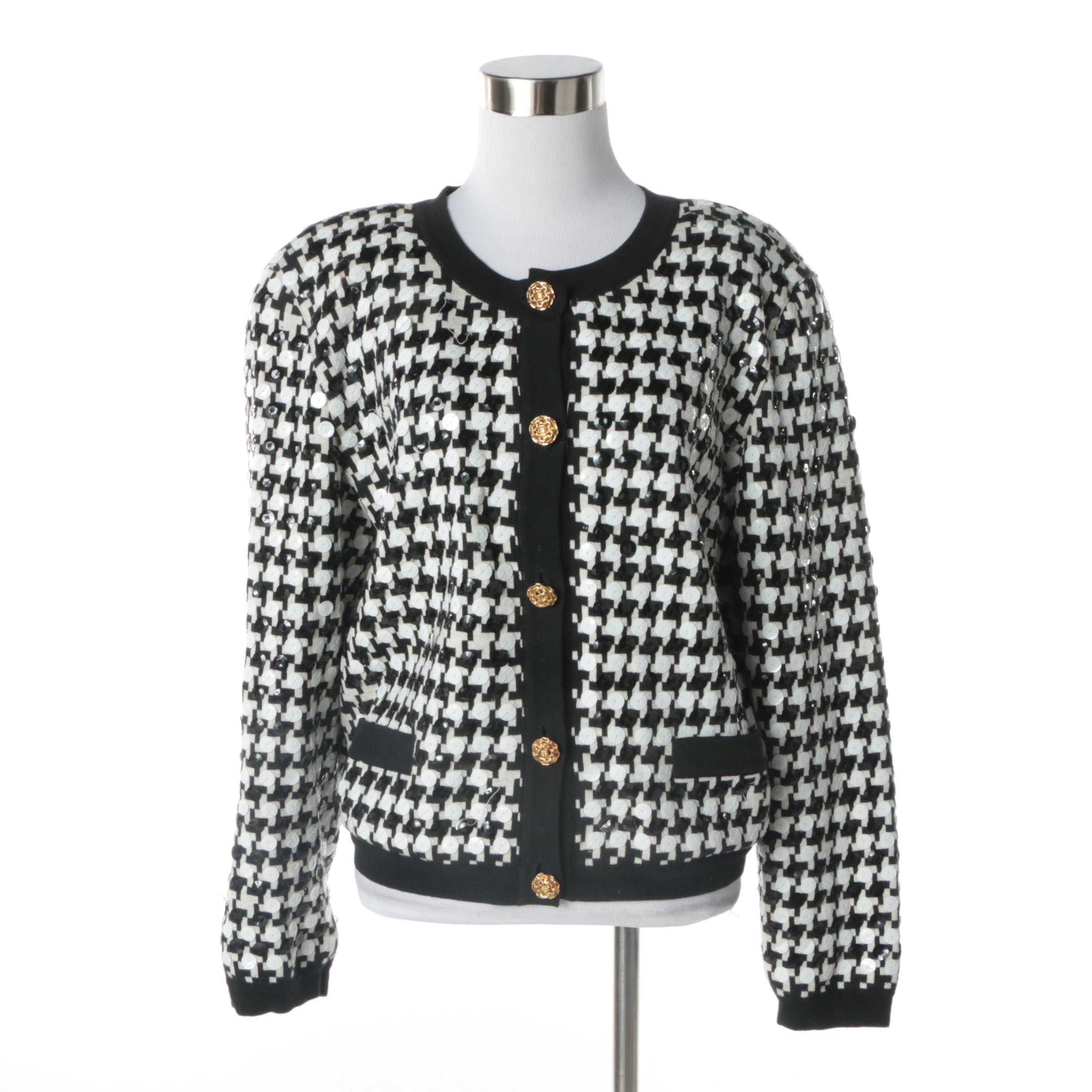 Adrienne Vittadini Black and White Houndstooth Jacket with Sequin Accents