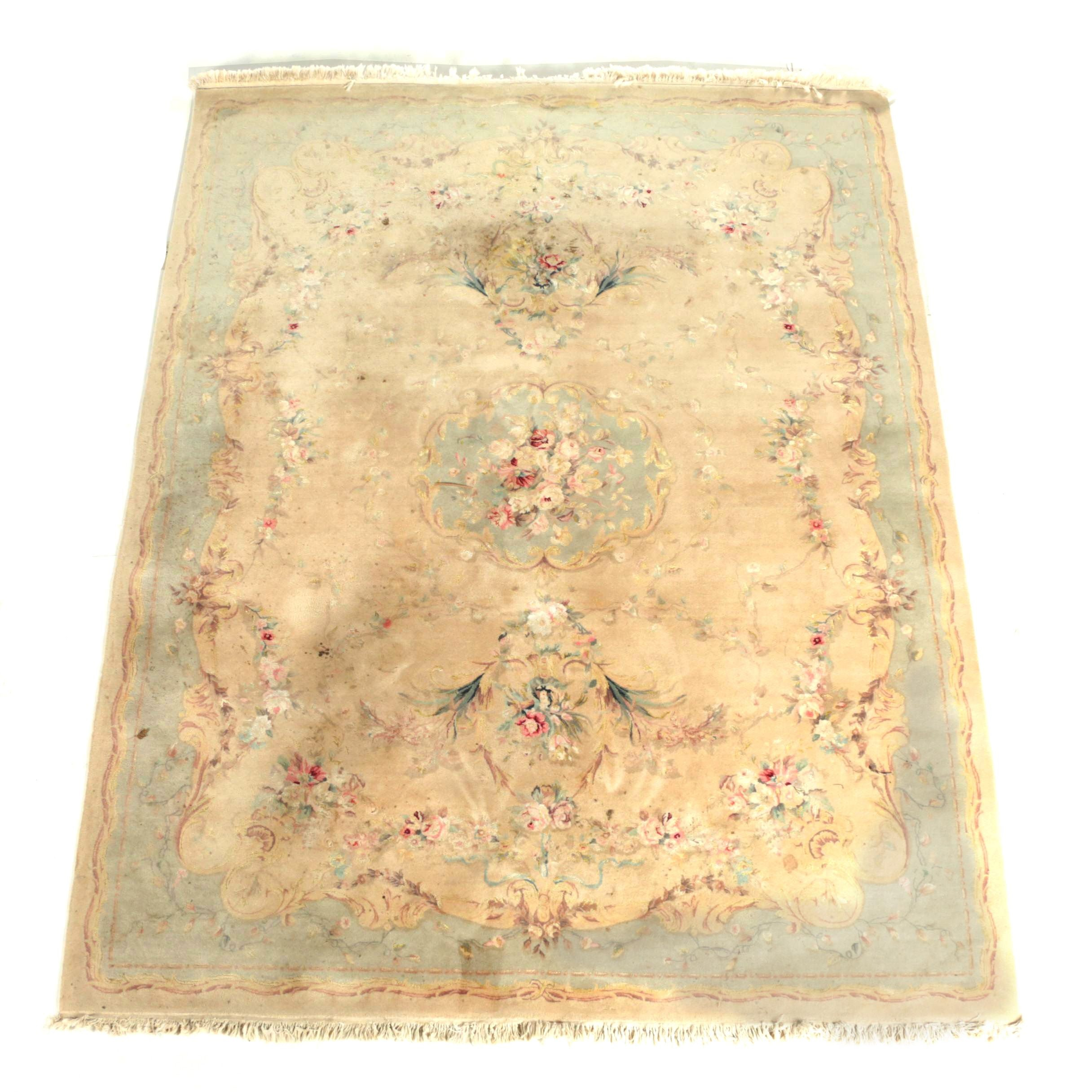 Vintage Hand-Knotted Aubusson-Style Wool and Silk Accented Area Rug