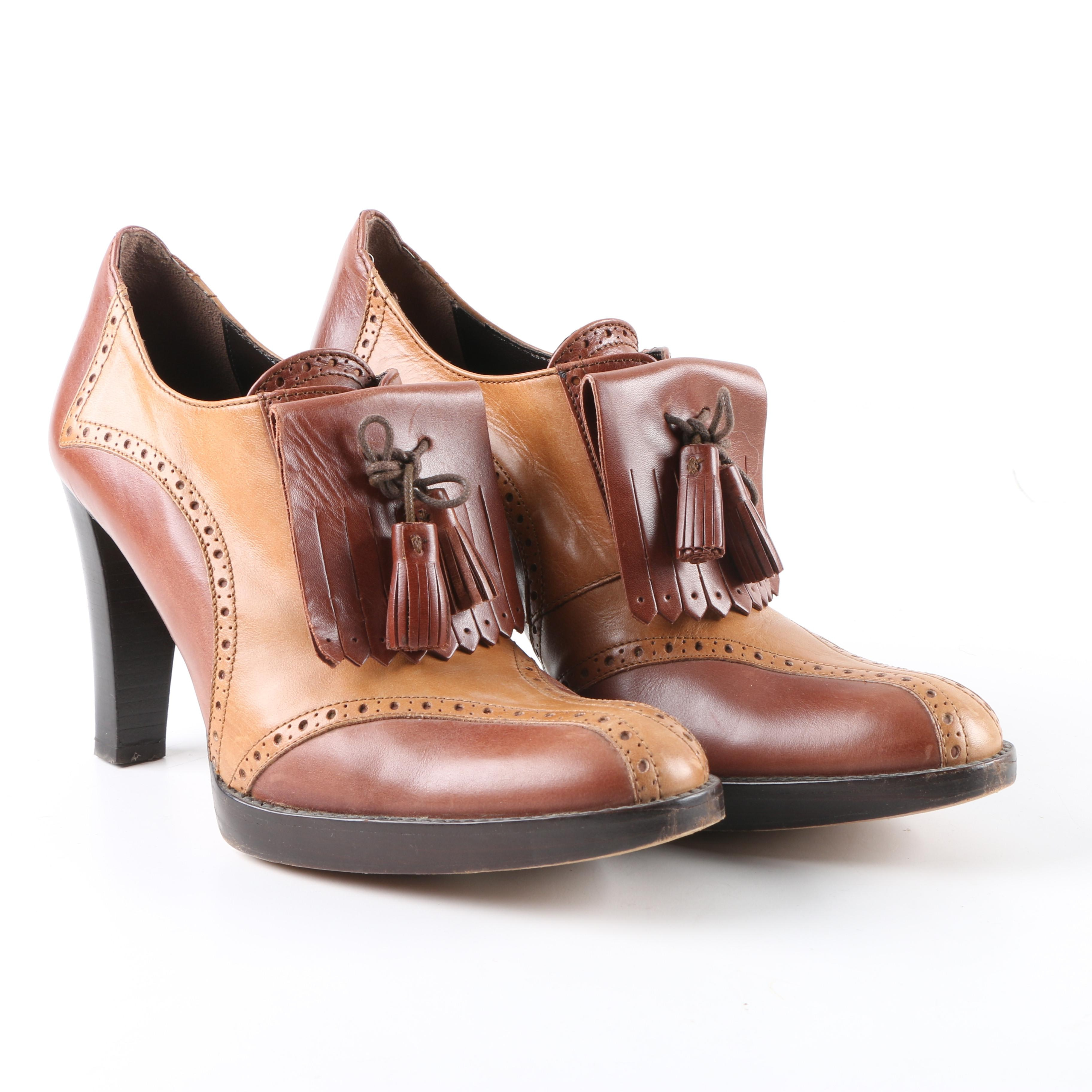 Women's Max Mara Brown and Tan Leather High-Heeled Tassel Loafers
