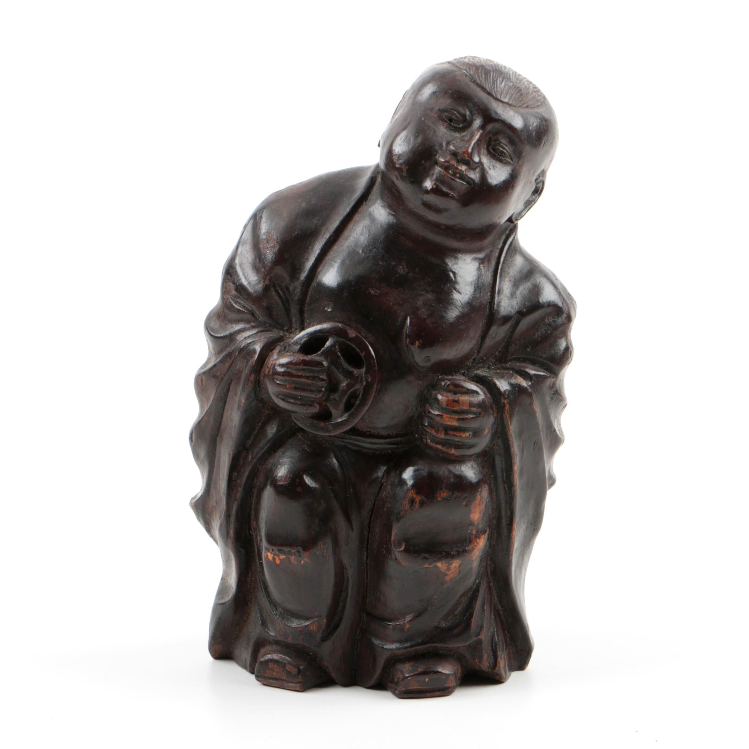 Chinese Qing Dynasty Bamboo Carving of Immortal Liu Hai