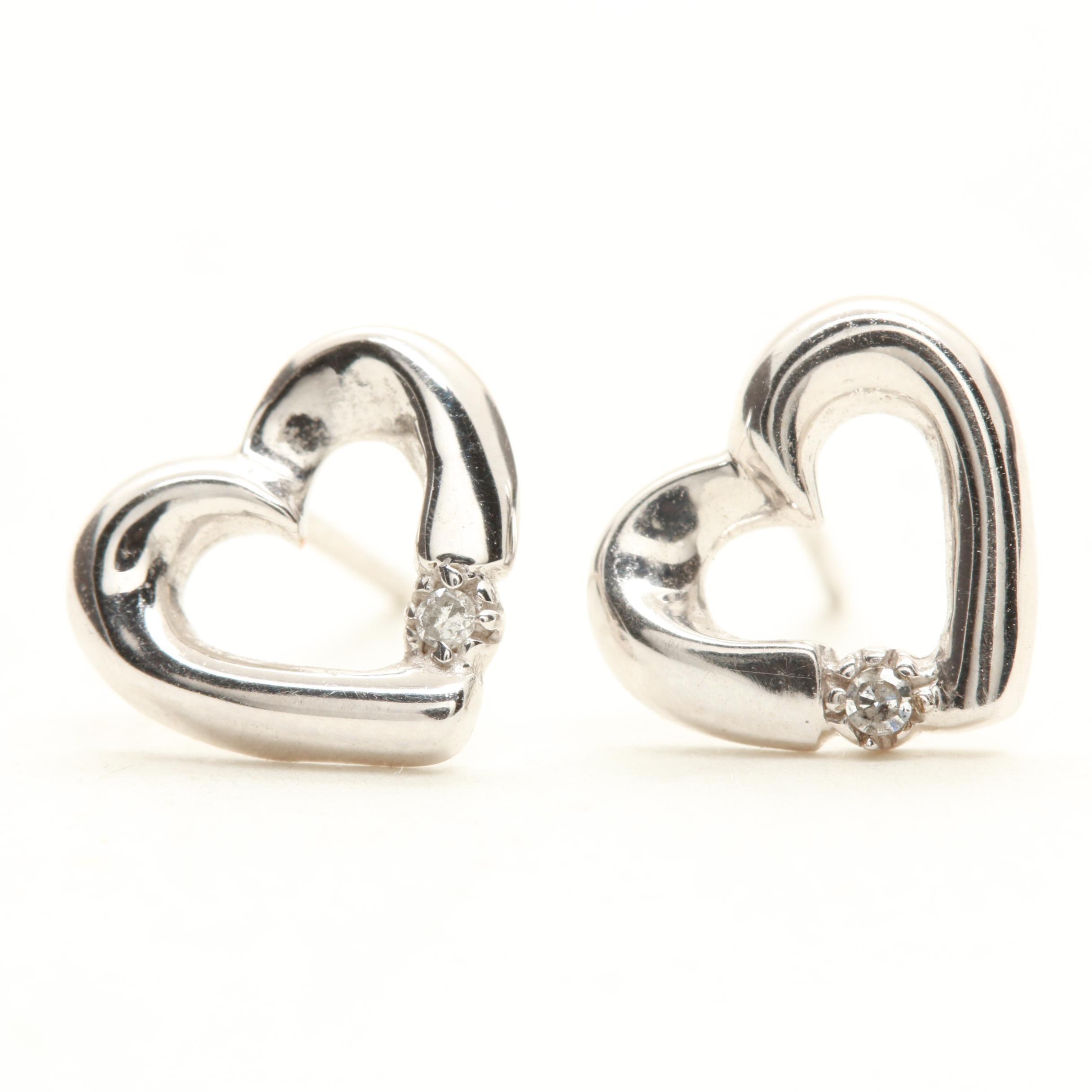 10K White Gold Diamond Heart Earrings With 14K White Gold Backs