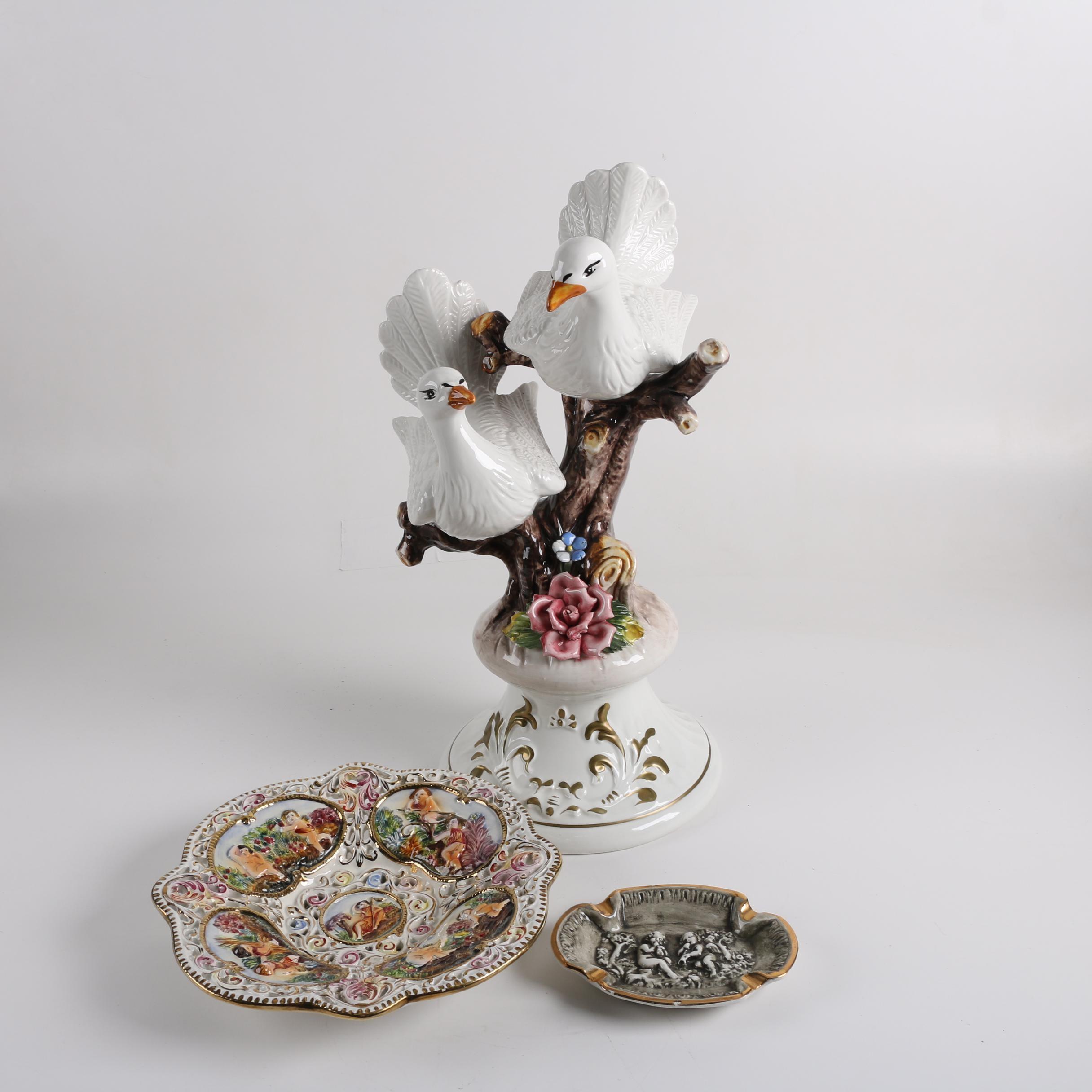 Capodimonte-Style Earthenware Doves Figurine and Trays