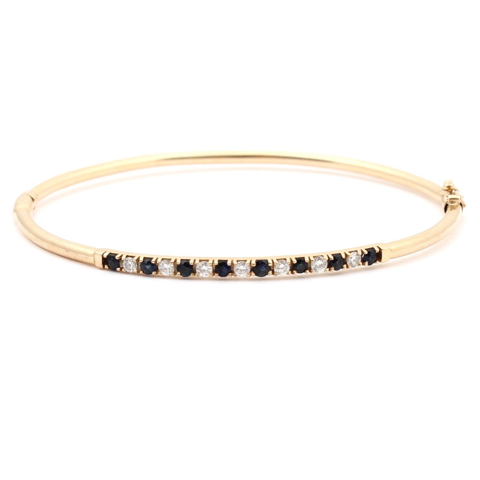 14K Yellow Gold Sapphire and Diamond Bangle
