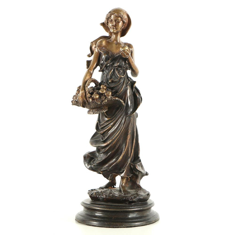 Brass Sculpture of Woman with Fruit