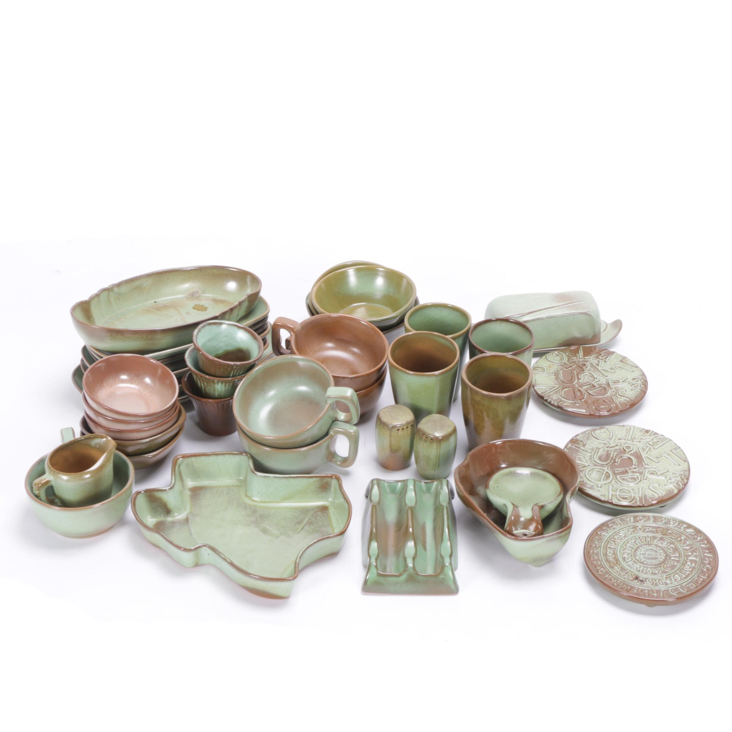 "Vintage Frankoma Pottery ""Prairie Green"" Serveware"