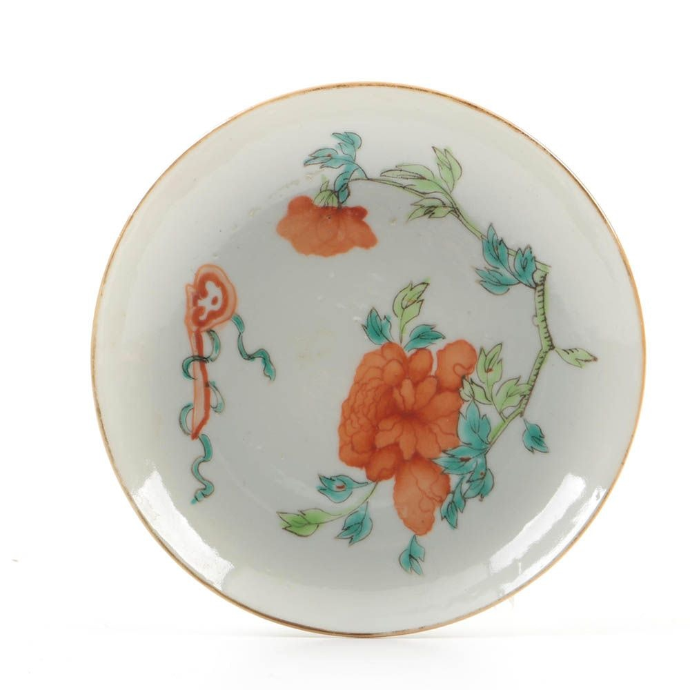 Antique Chinese Saucer with Peony and Ruyi Motif