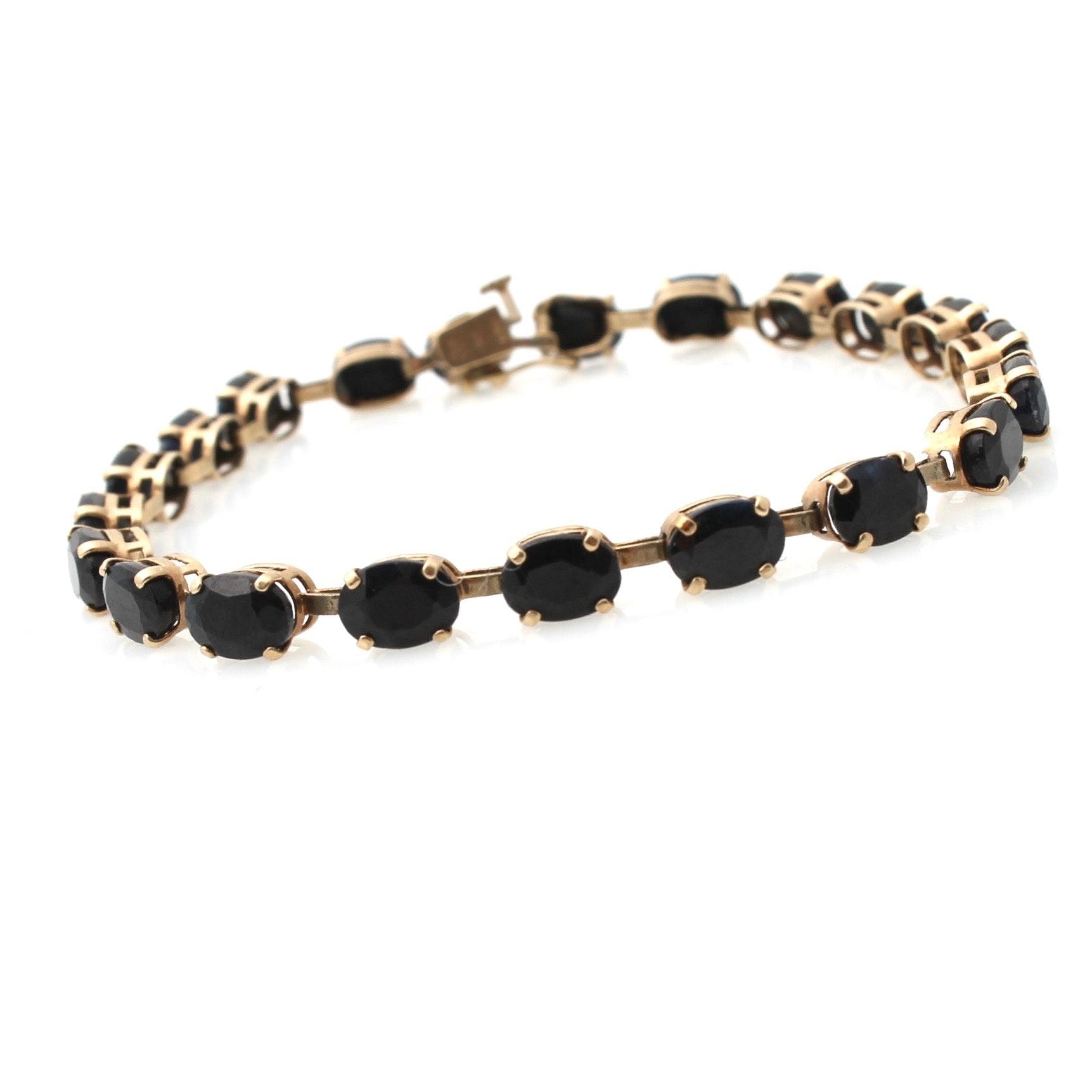 10K Yellow Gold Sapphire Tennis Bracelet