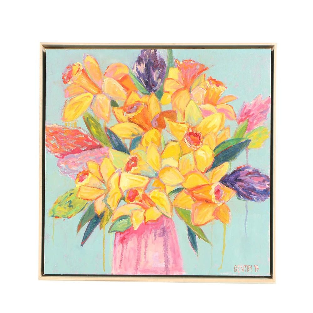 Gentry Oil Painting of Flowers in Vase