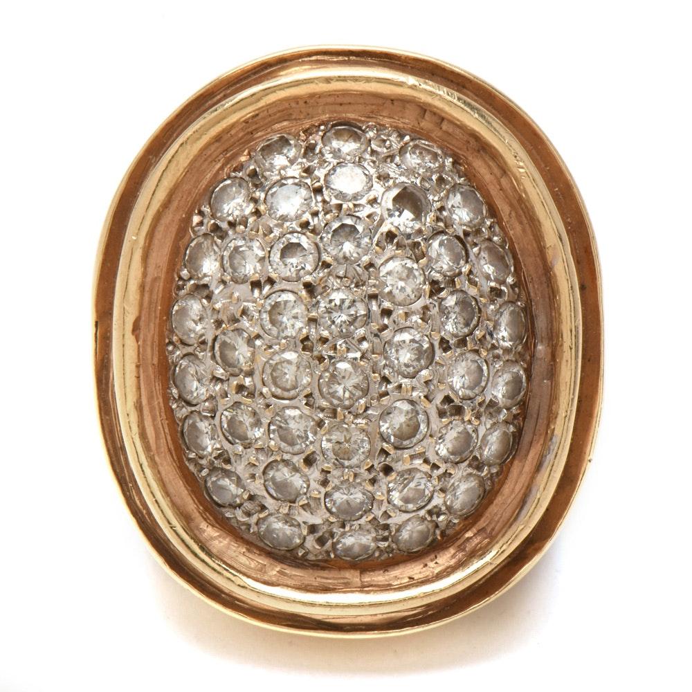 14K Yellow Gold 3.36 CTW Pavé Diamond Ring