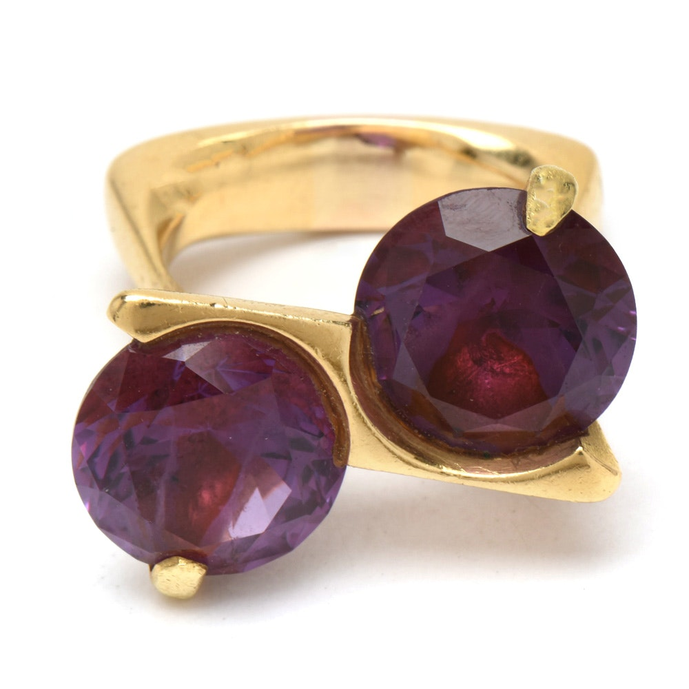 Modernist 18K Yellow Gold Color-Change Synthetic Sapphire Bypass Ring