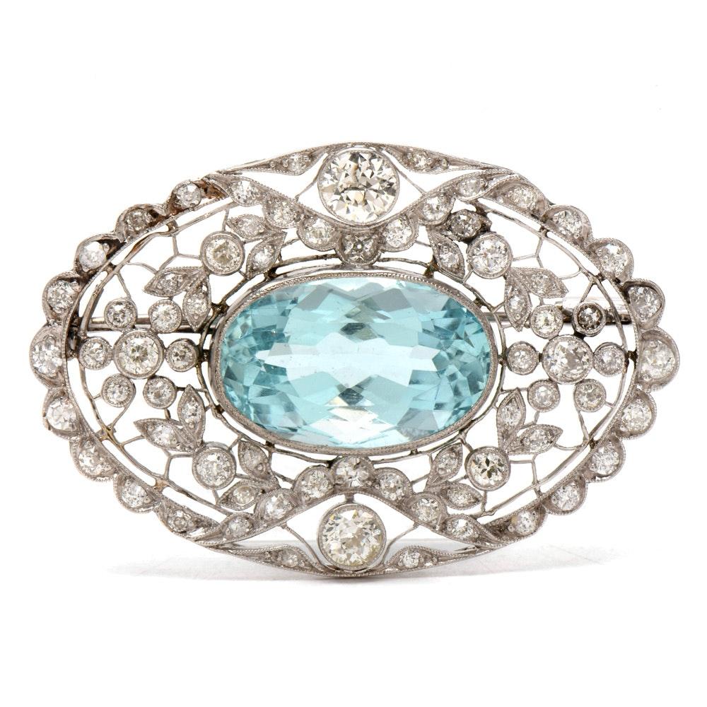 Belle Époque Platinum 13.03 Carat Aquamarine and 4.02 CTW Diamond Brooch