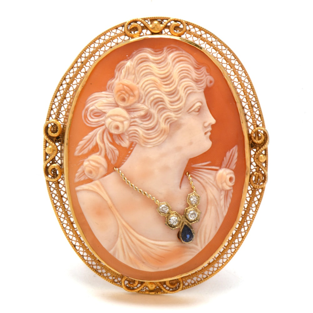 Vintage 14K Yellow Gold Carved Shell Diamond and Sapphire Habillé Cameo Brooch