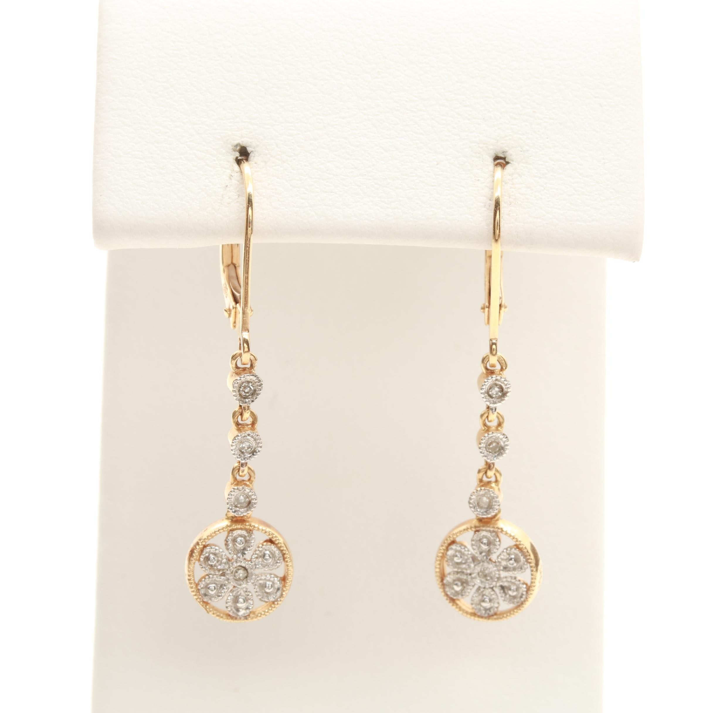 14K Yellow Gold Diamond Earrings with White Gold Accents