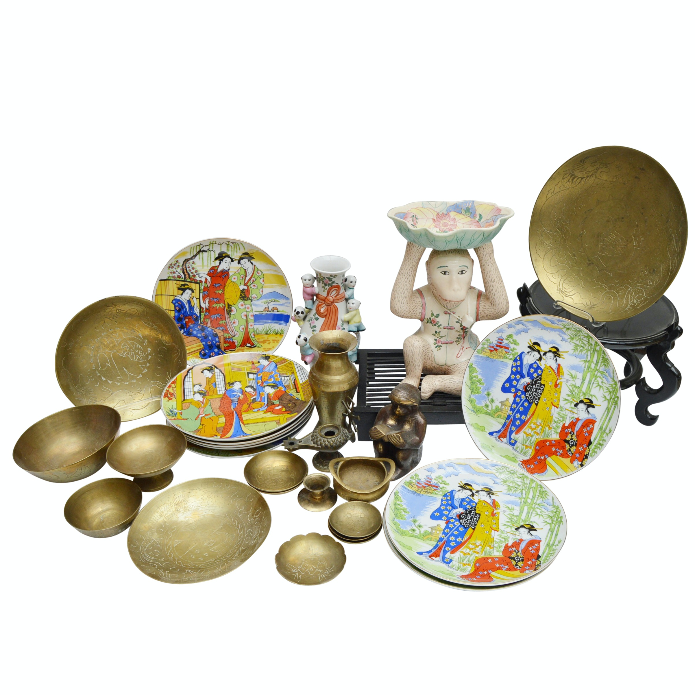 Asian Collectibles in Porcelain, Brass and Wood