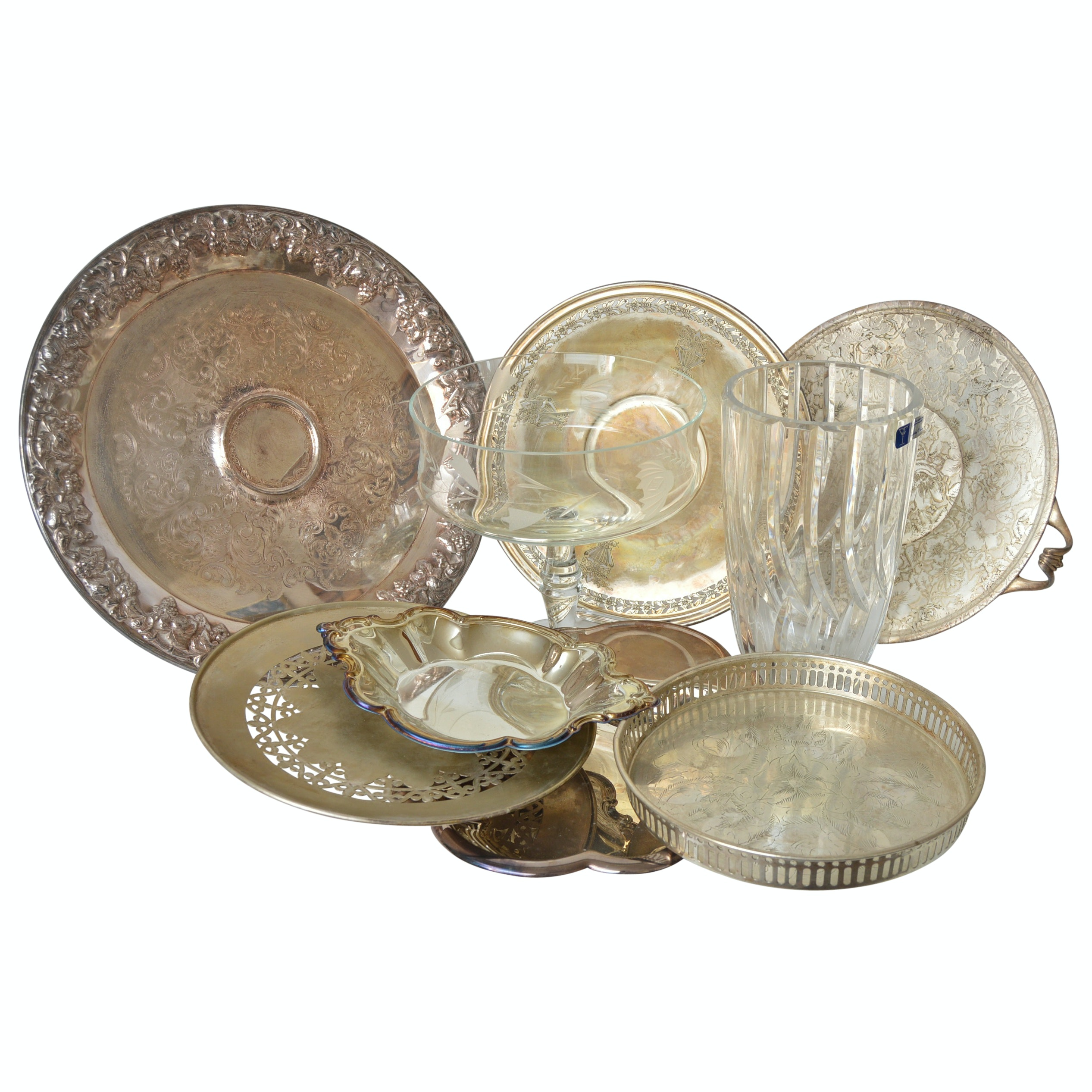 Collection of Silverplate and Crystal and Glass Tableware