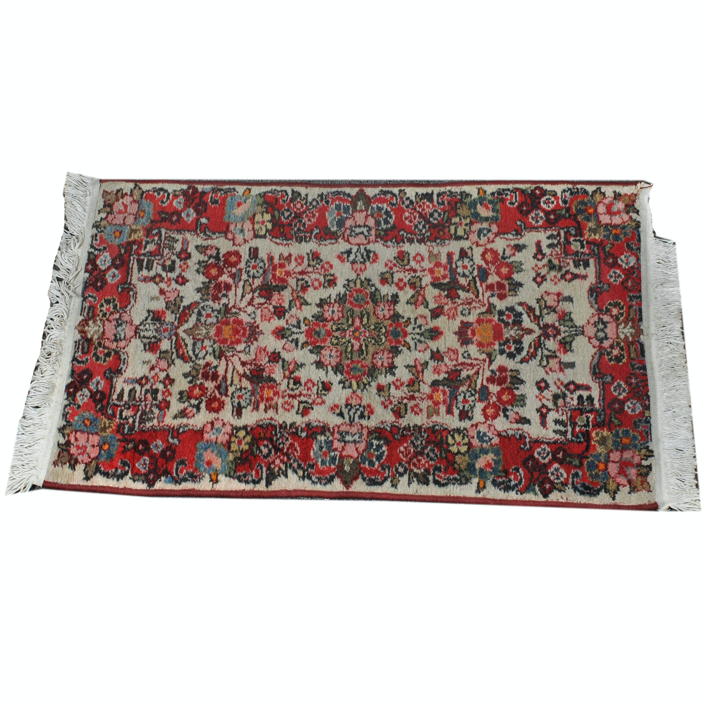 Semi-Antique Hand-Knotted Persian Malayer Wool Accent Rug