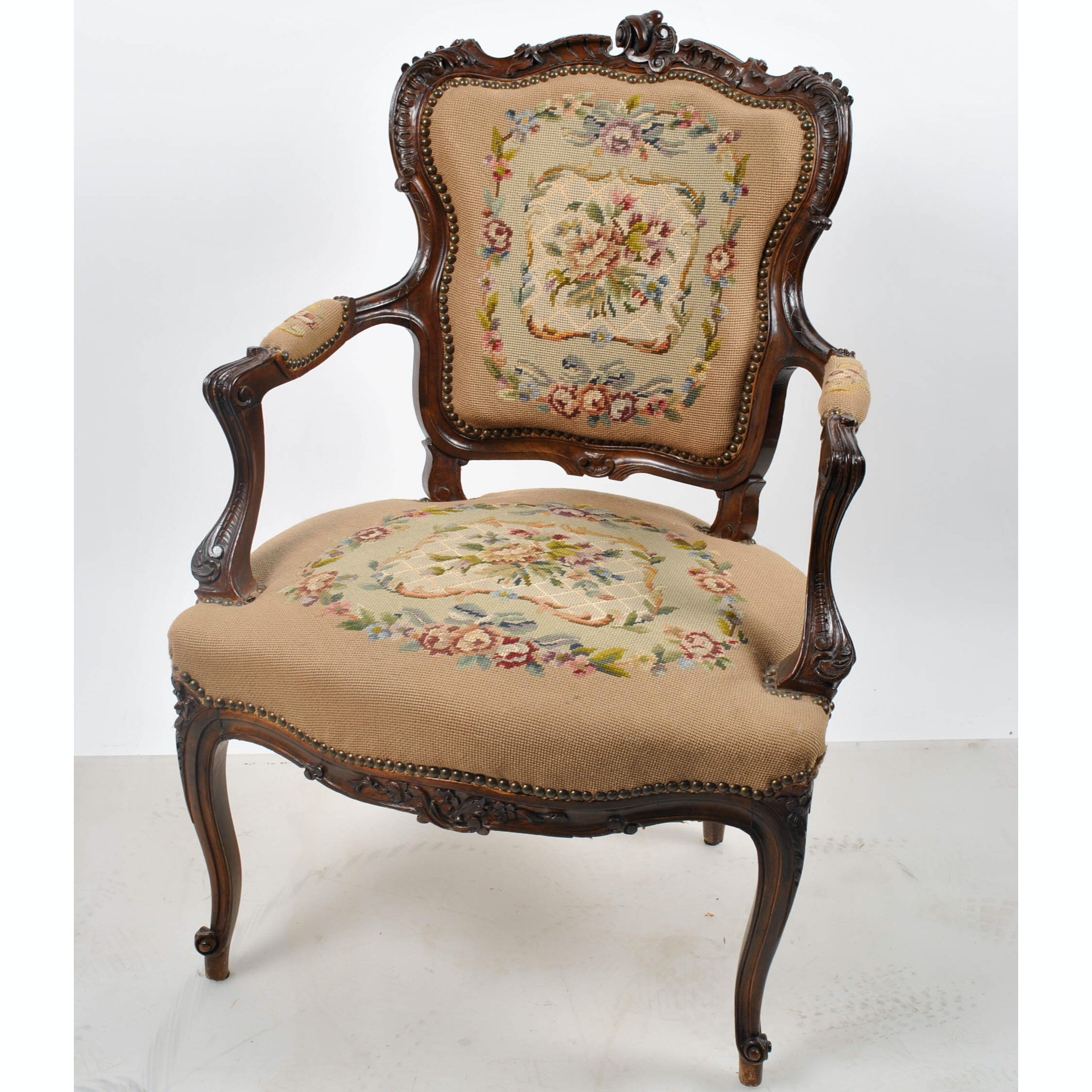 Floral Upholstered Louis XV Style Fauteuil