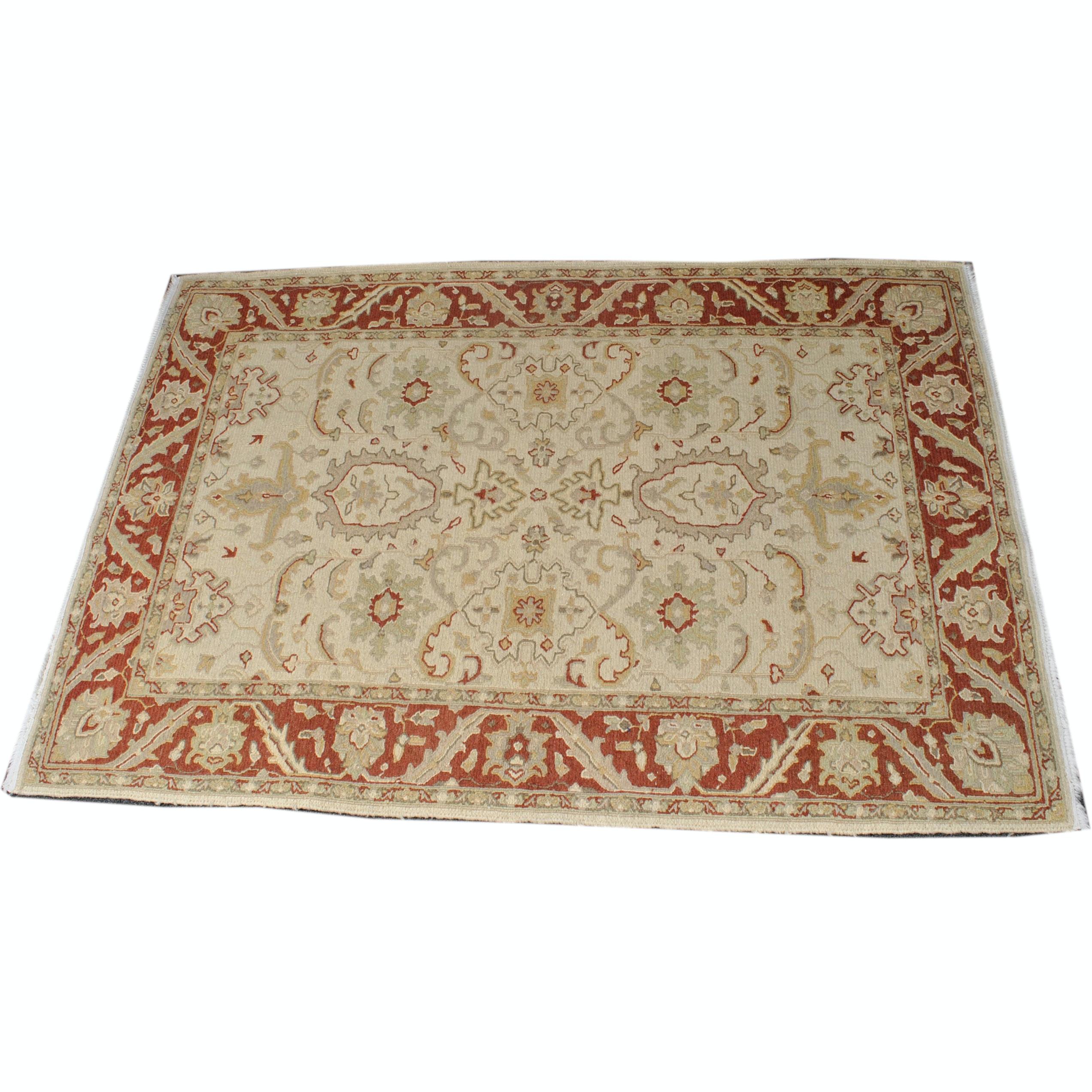 Handwoven Indo-Persian Heriz Wool Soumak Area Rug