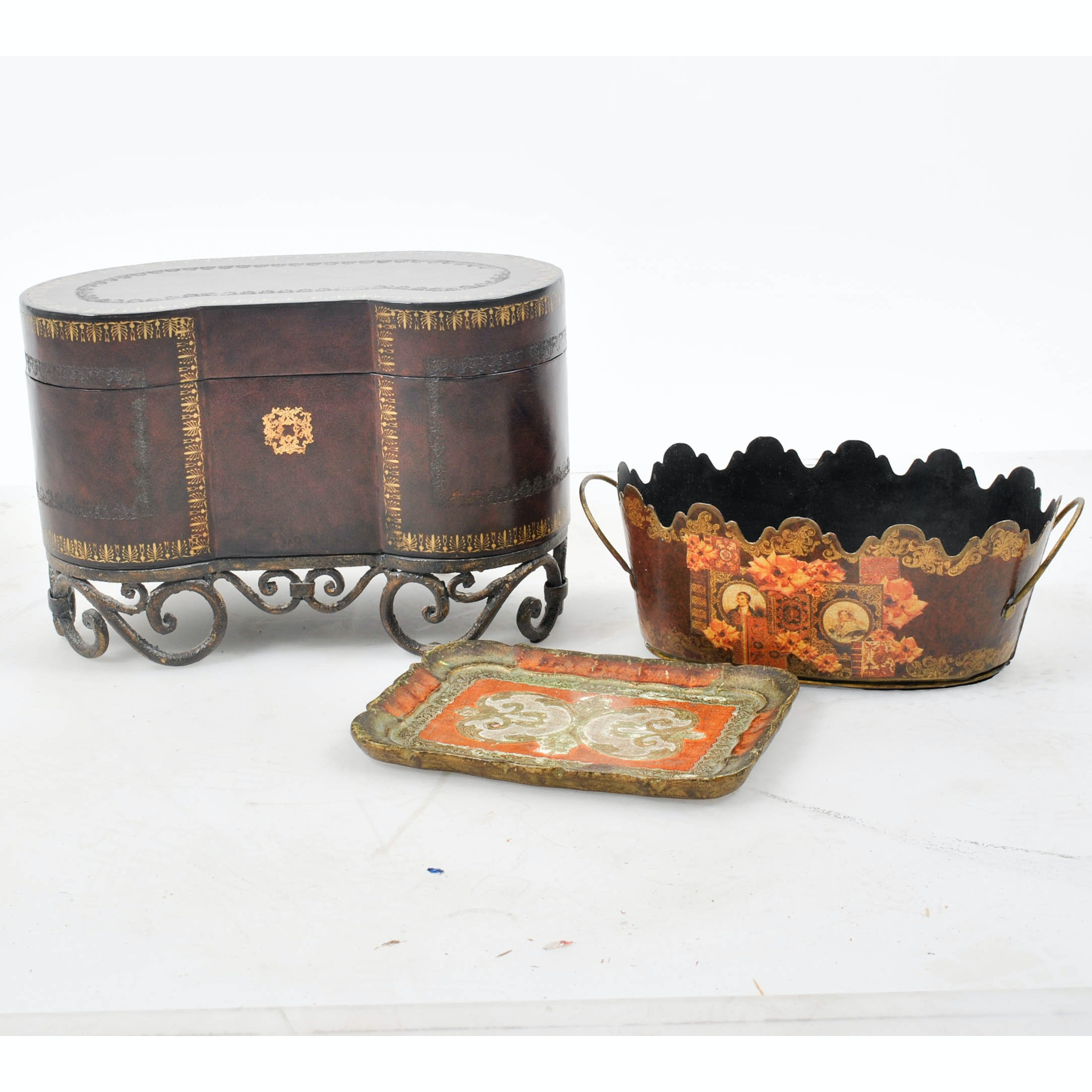 Metal Jardinière, Florentine Wooden Tray and Leather Covered Box