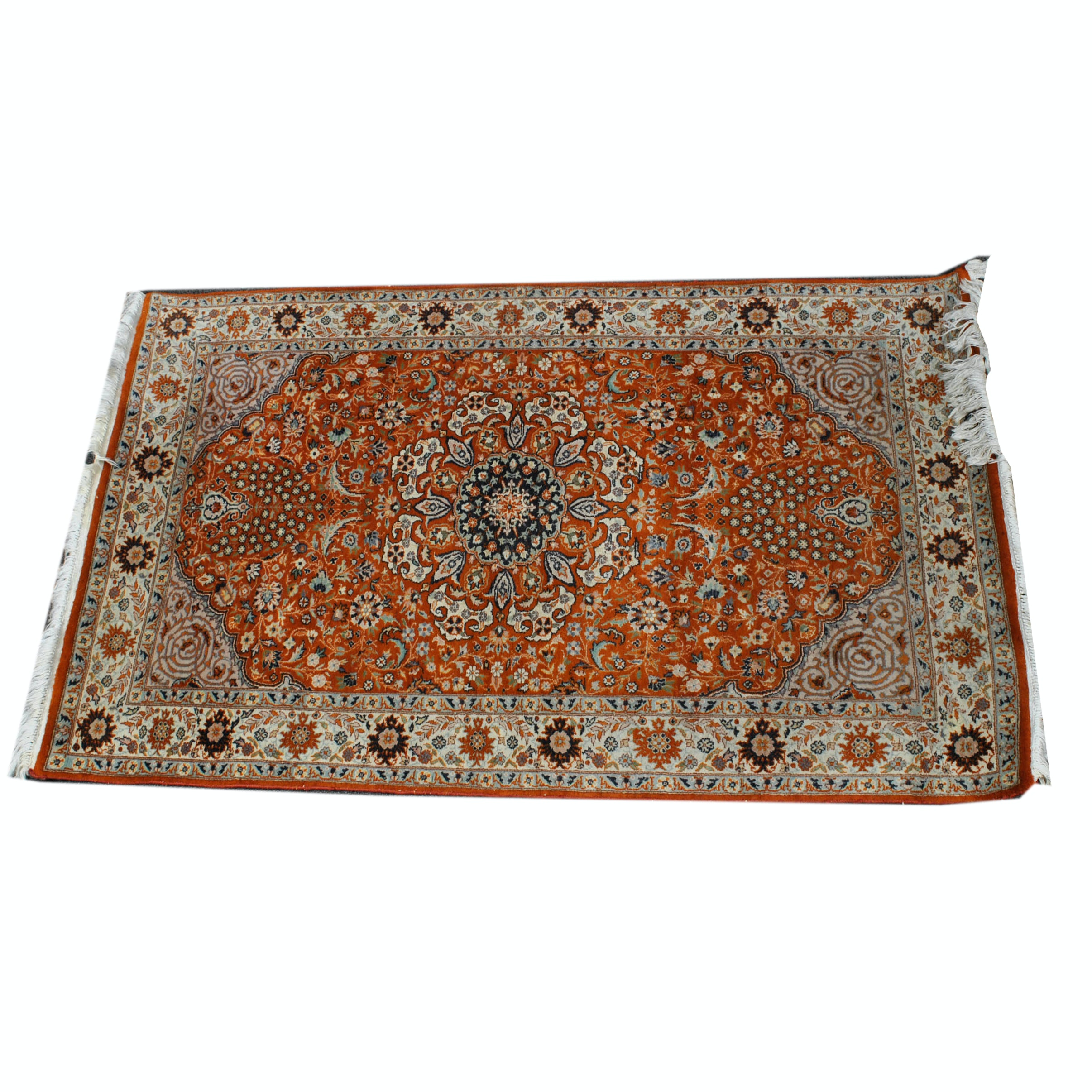 Hand-Knotted Pakistani Tabriz Wool Accent Rug