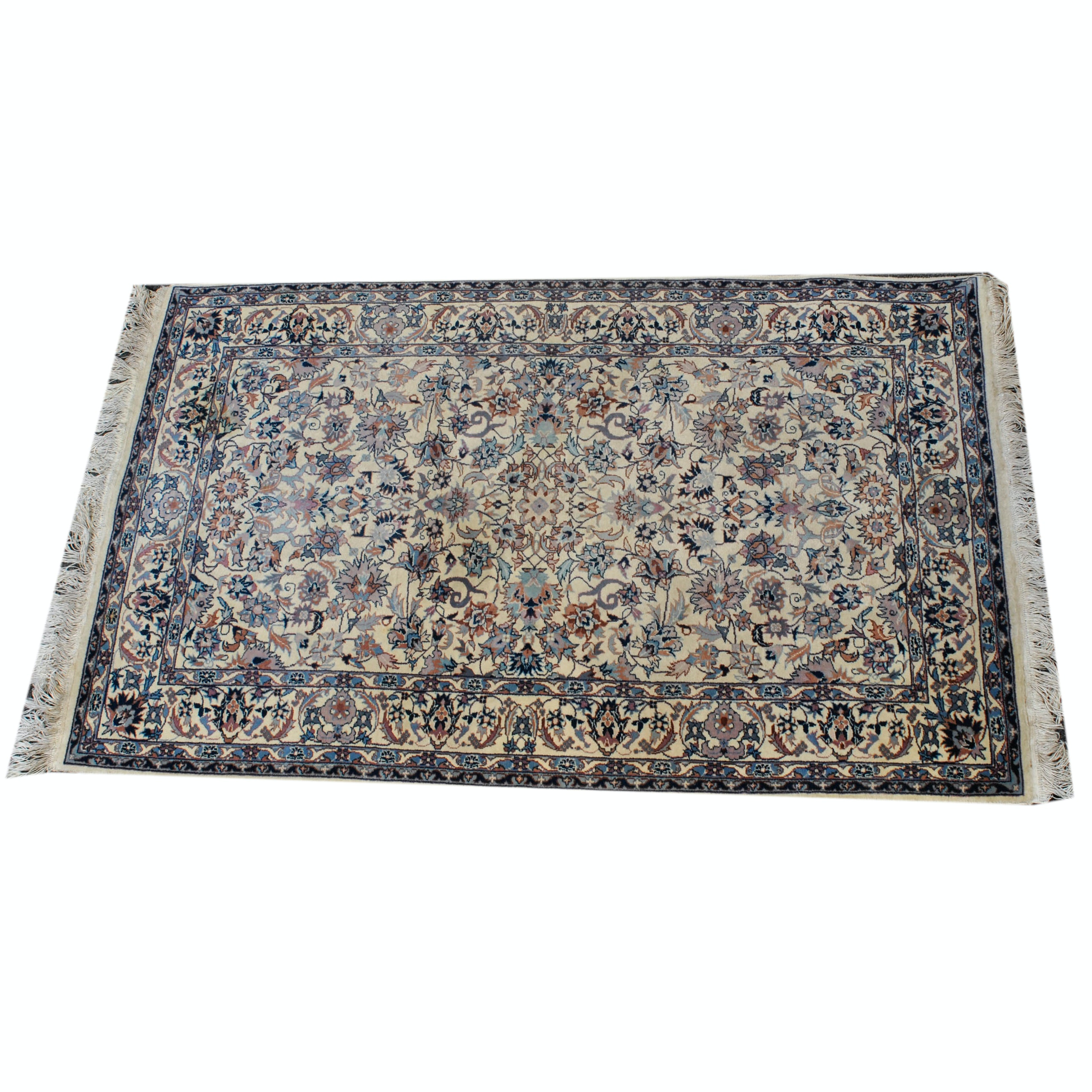 Hand-Knotted Sino-Persian Kashan Style Wool Accent Rug