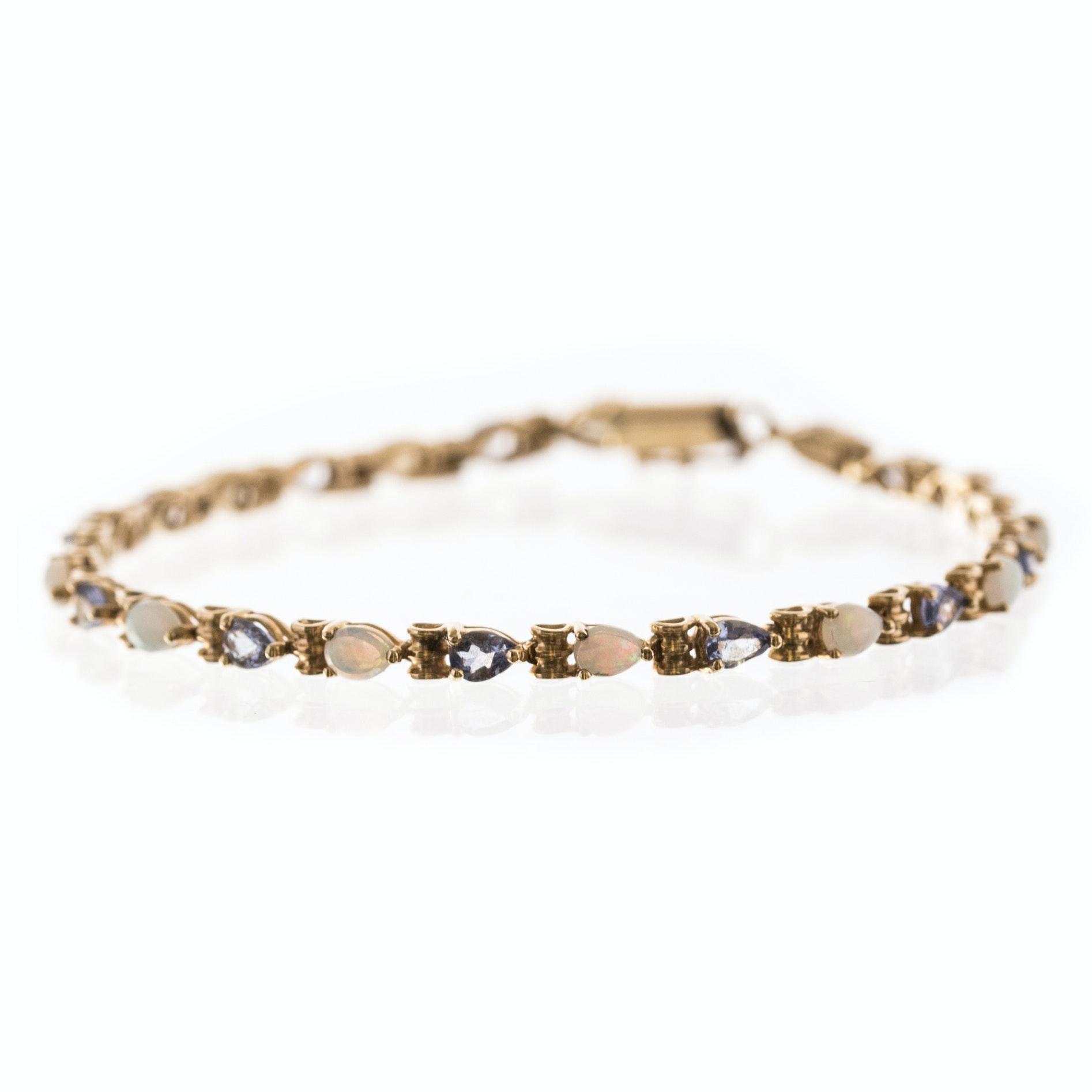 10K Yellow Gold 1.00 CTW Opal and 1.26 CTW Tanzanite Bracelet