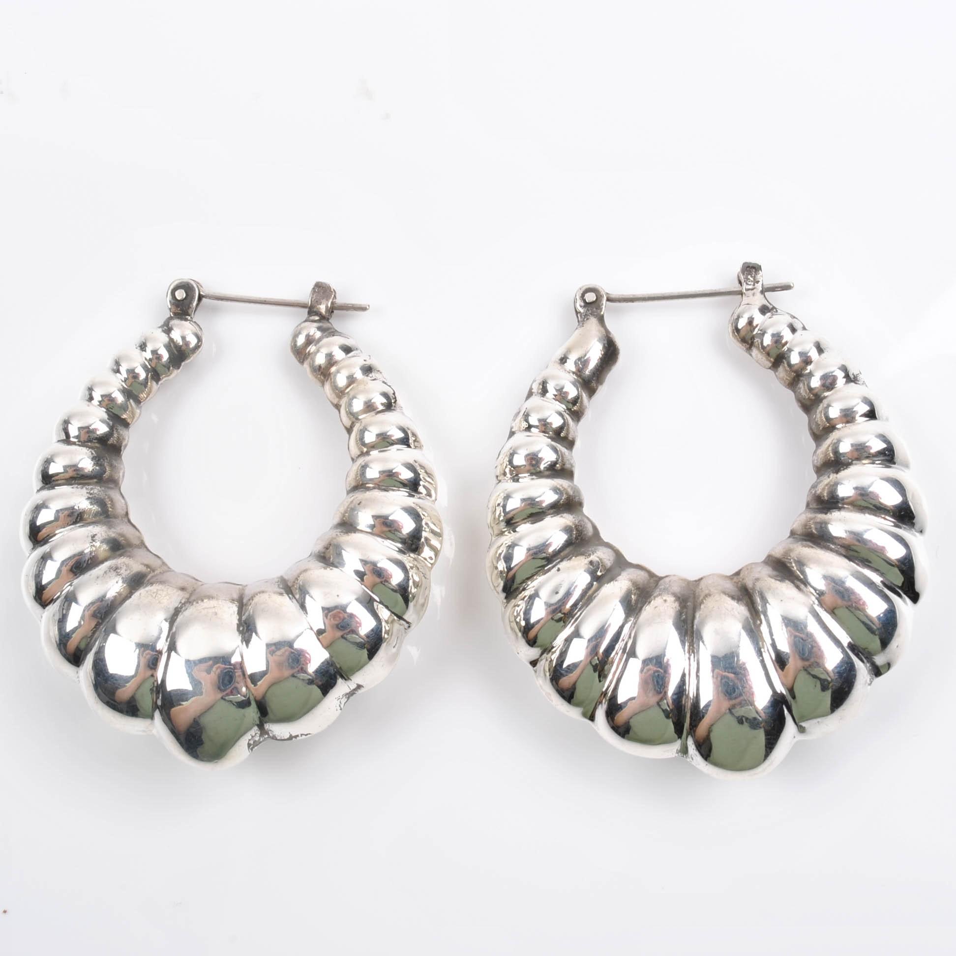 Sterling Silver Scalloped Hoop Earrings