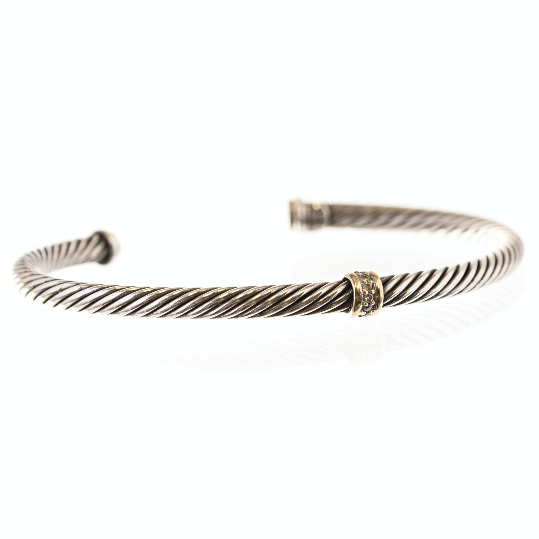 David Yurman 18K Yellow Gold Sterling Silver Diamond Cable Bangle