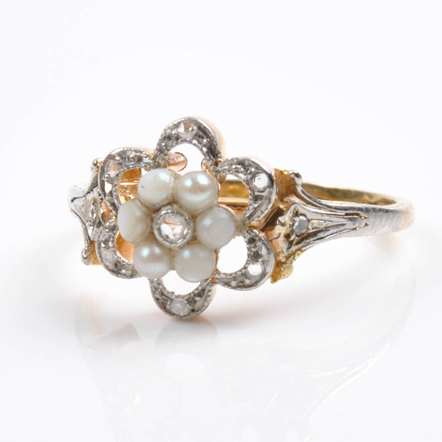 14K Yellow Gold White Sapphire and Pearl Ring
