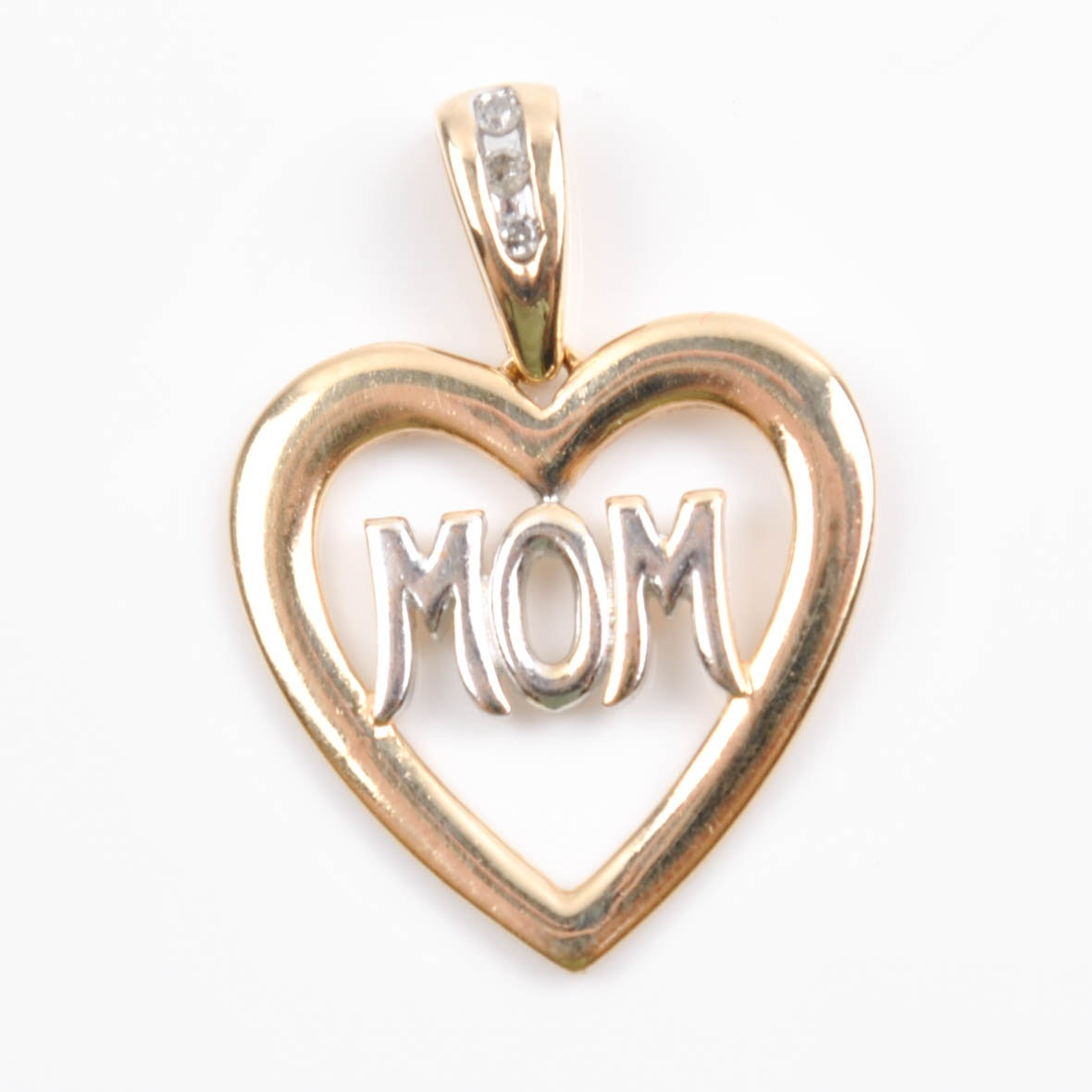 "10K Yellow Gold Diamond Accented ""Mom"" Heart Pendant"