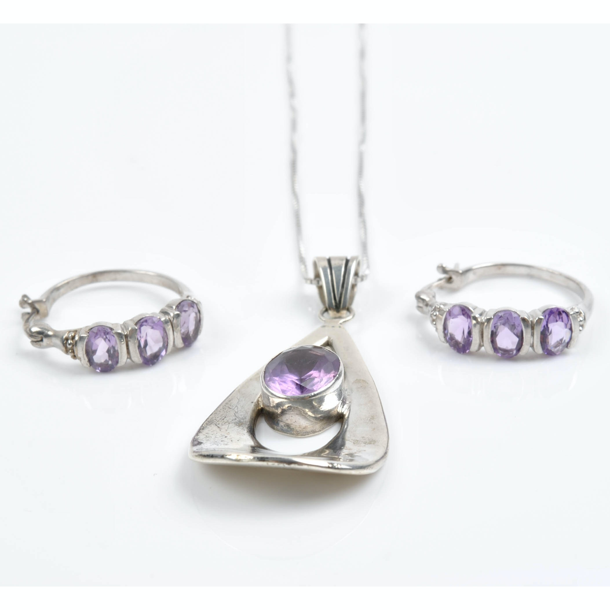 Sterling Silver 9.00 CTW Amethyst Earrings and Necklace