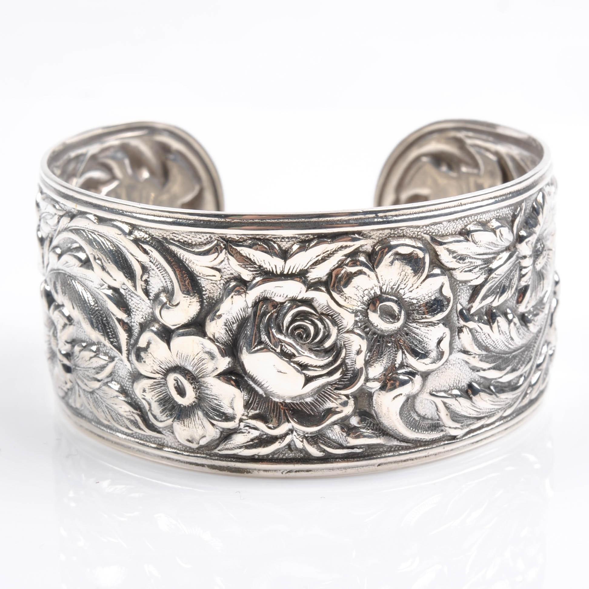 S. Kirk & Son Sterling Silver Floral Motif Cuff Bracelet