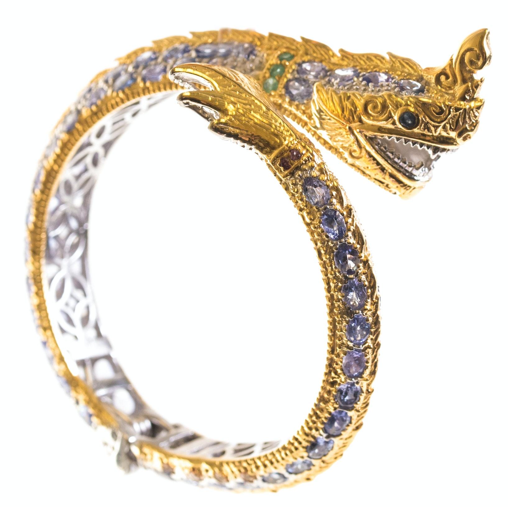Sterling Silver Emerald, Tanzanite, and Sapphire Dragon Bangle