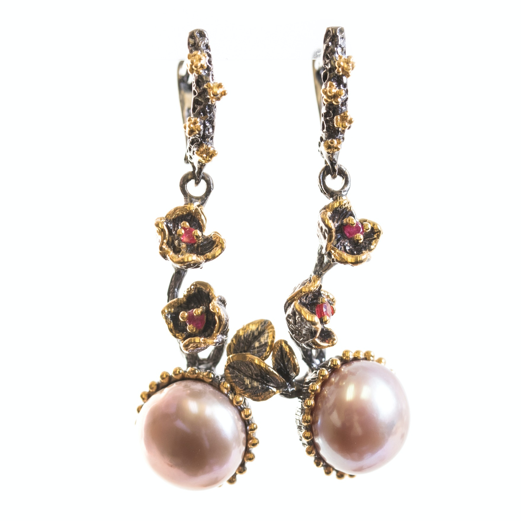 Oxidized Sterling Silver Ruby and Freshwater Pearl Earrings