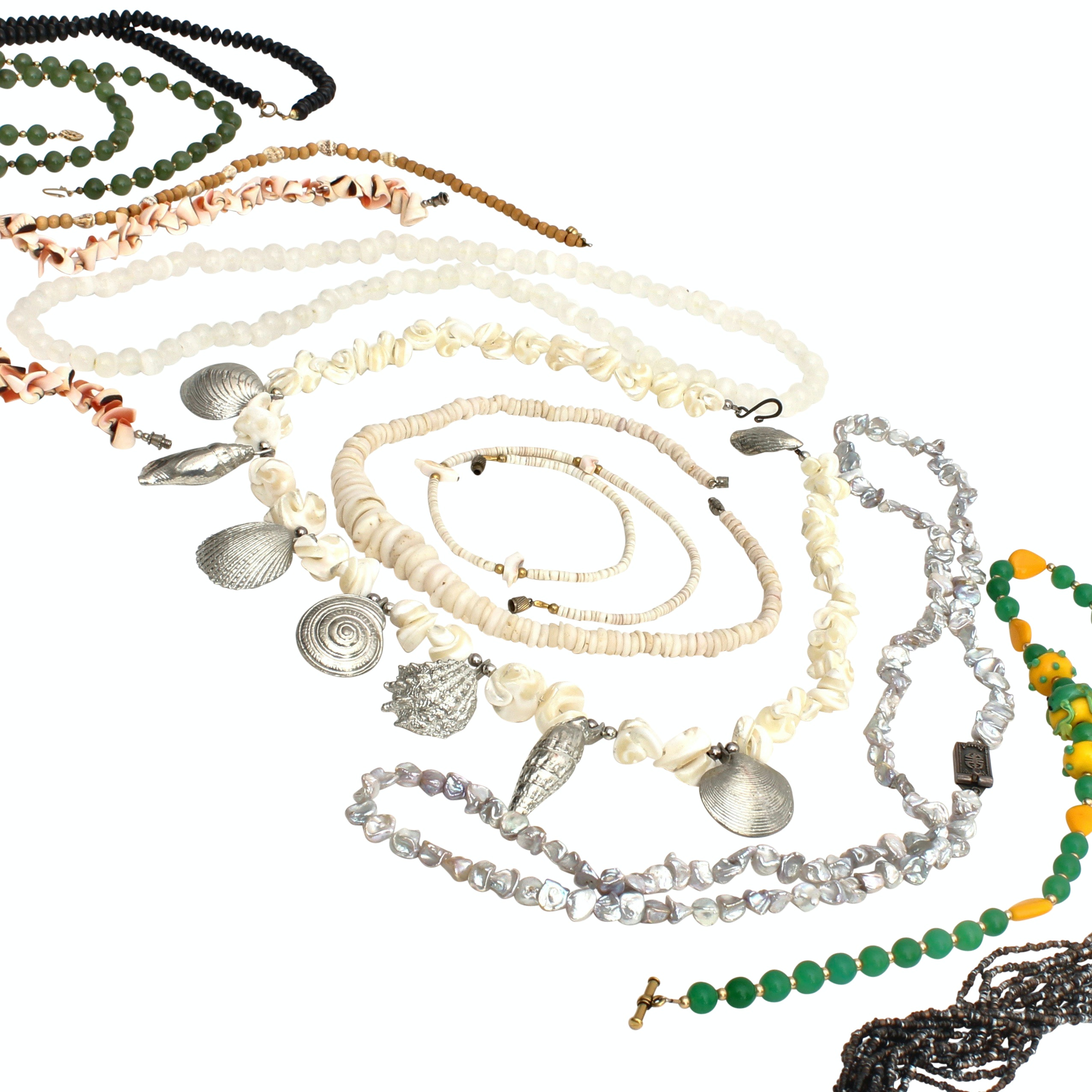Shell and Beaded Assorted Jewelry Including Sterling Silver