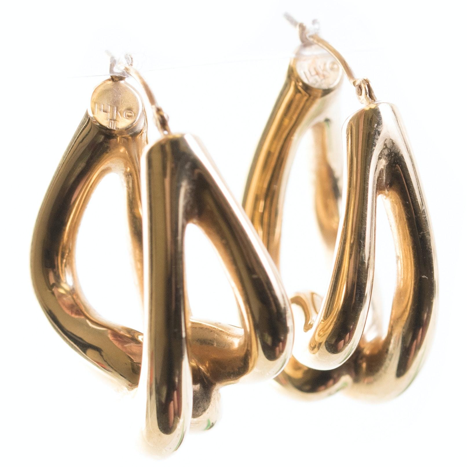 14K Yellow Gold Freeform Hoop Earrings