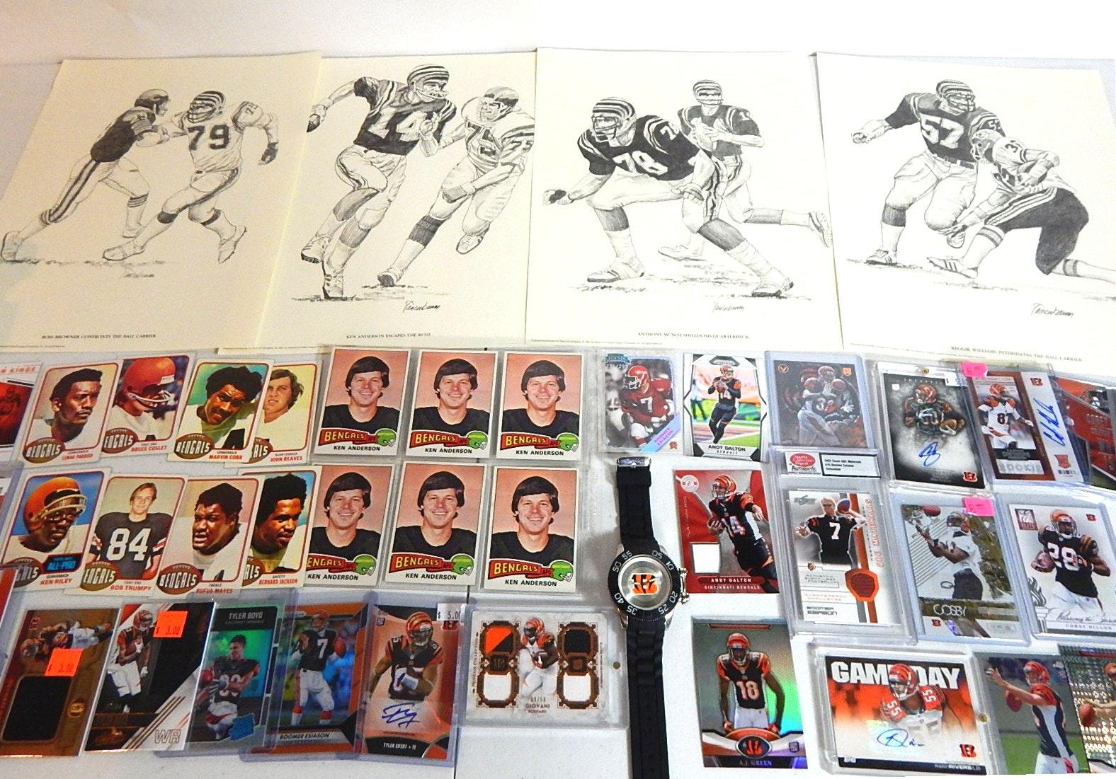 NFL Cincinnati Bengals Cards, Sketches, Wristwatch