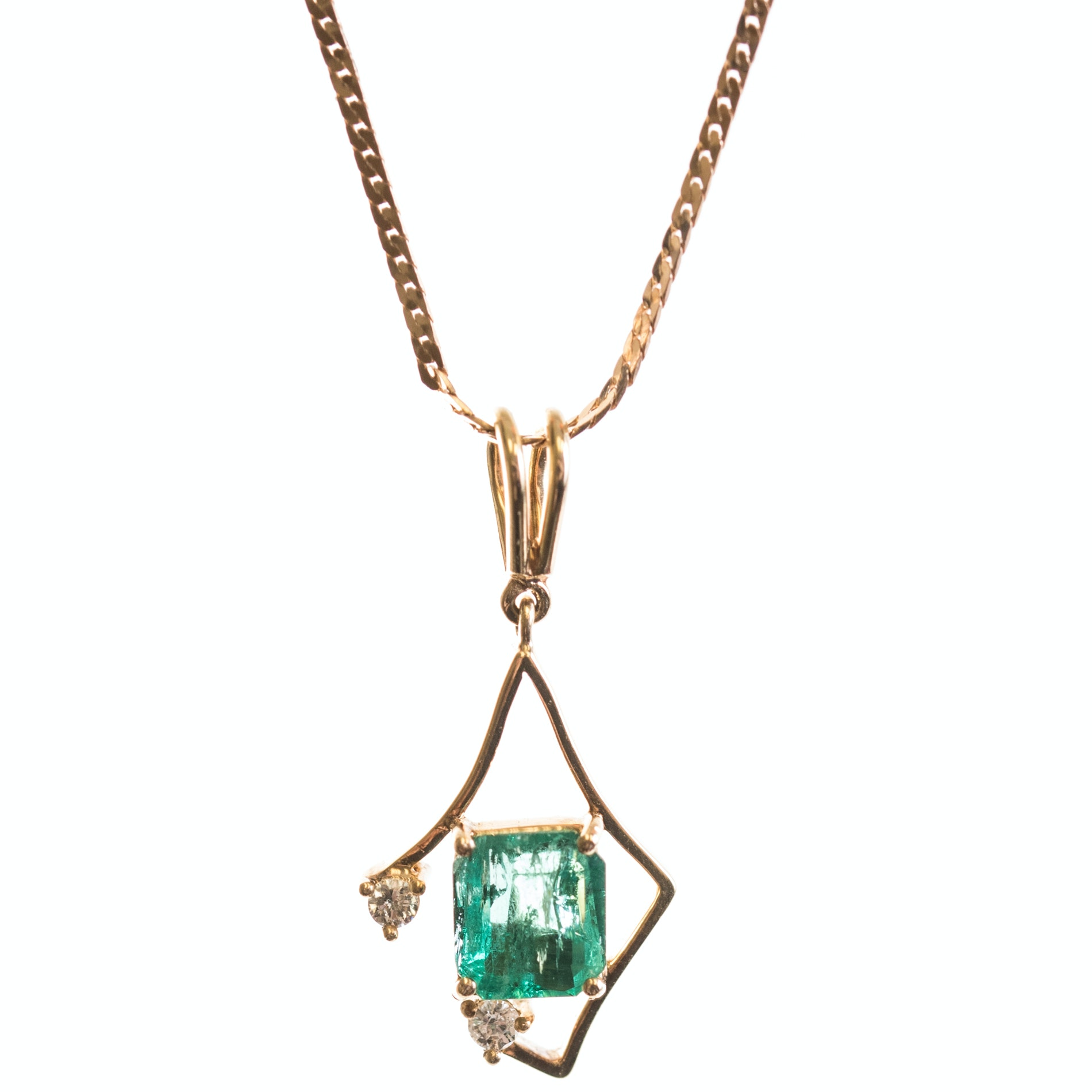 14K and 18K Yellow Gold Emerald and Diamond Necklace