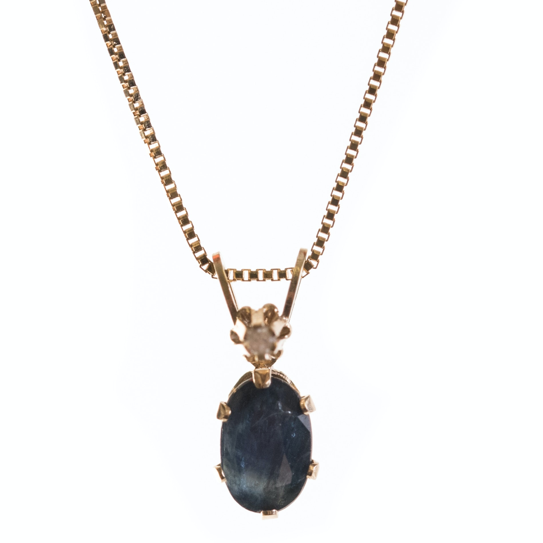 14K & 18K Yellow Gold  Sapphire and Diamond Necklace