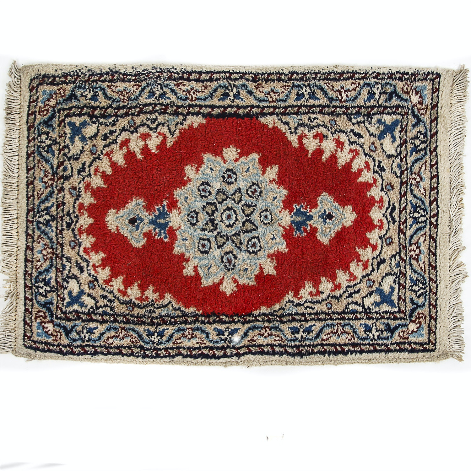 Vintage Hand-Knotted Persian Style Wool Mat