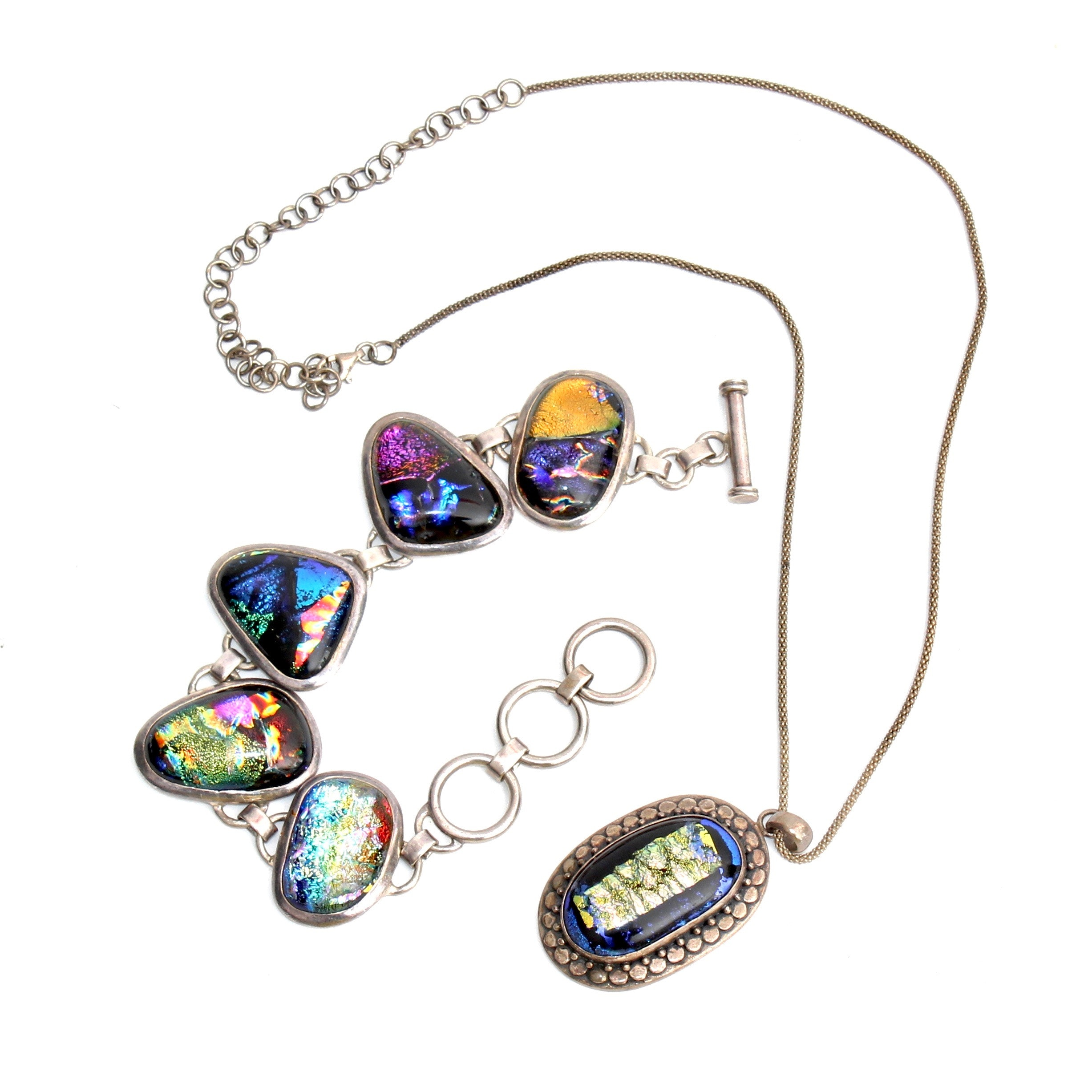 Sterling Silver and Art Glass Toggle Bracelet and Necklace