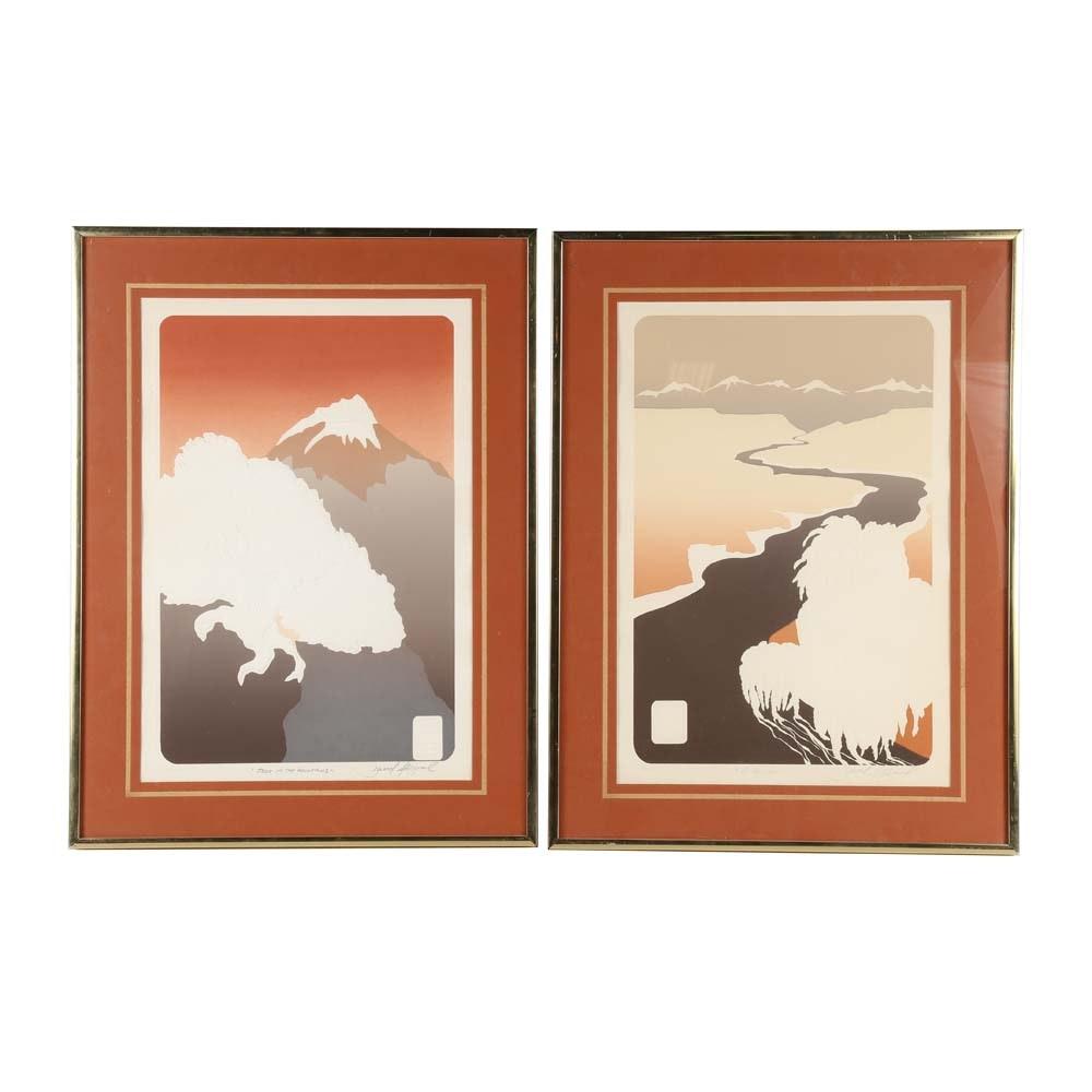 David Allgood Asian Inspired Landscape Serigraphs