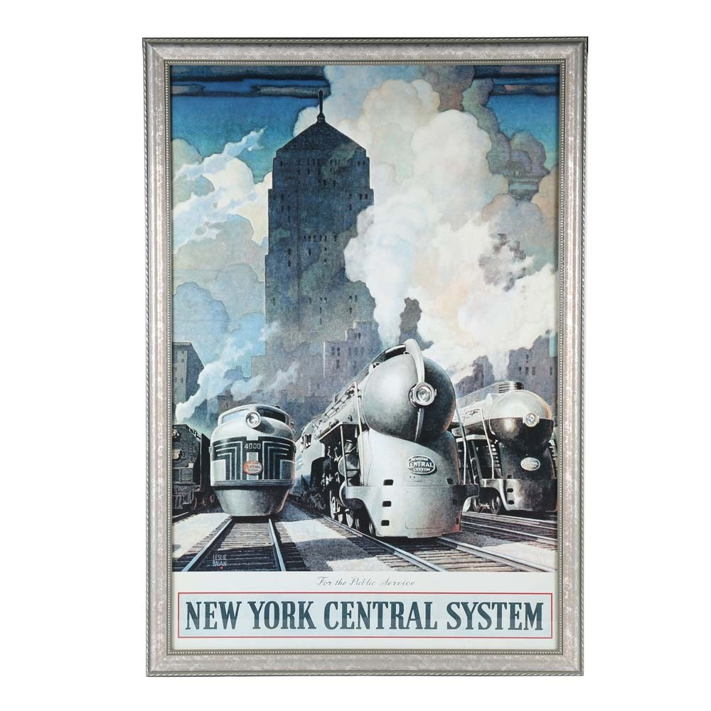 After Leslie Ragan Offset Lithograph New York Central System Advertising Poster